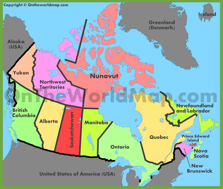 Administrative map of Canada
