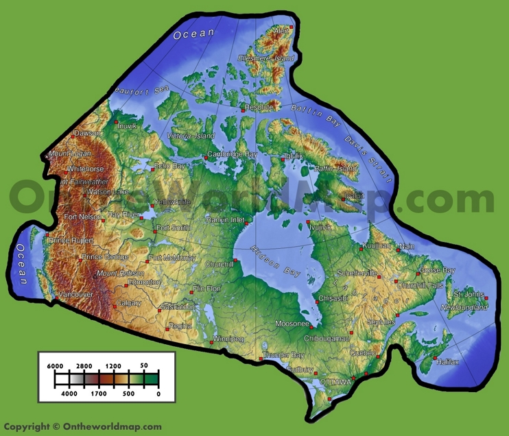 Canada physical map