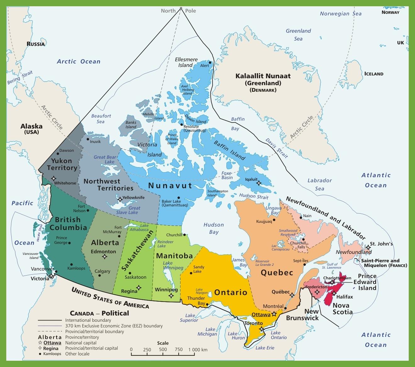 Political Map Of Canada Canada political map
