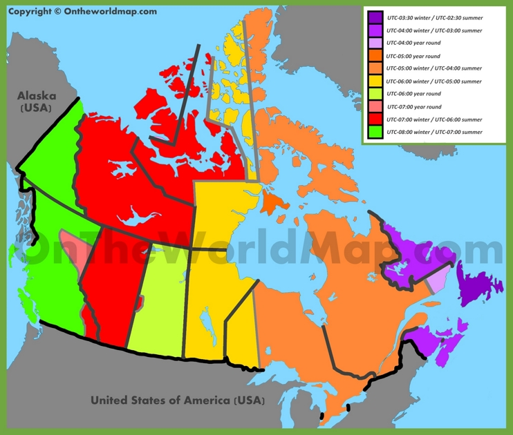 Map Of Canada Time Zones.Canada Time Zone Map