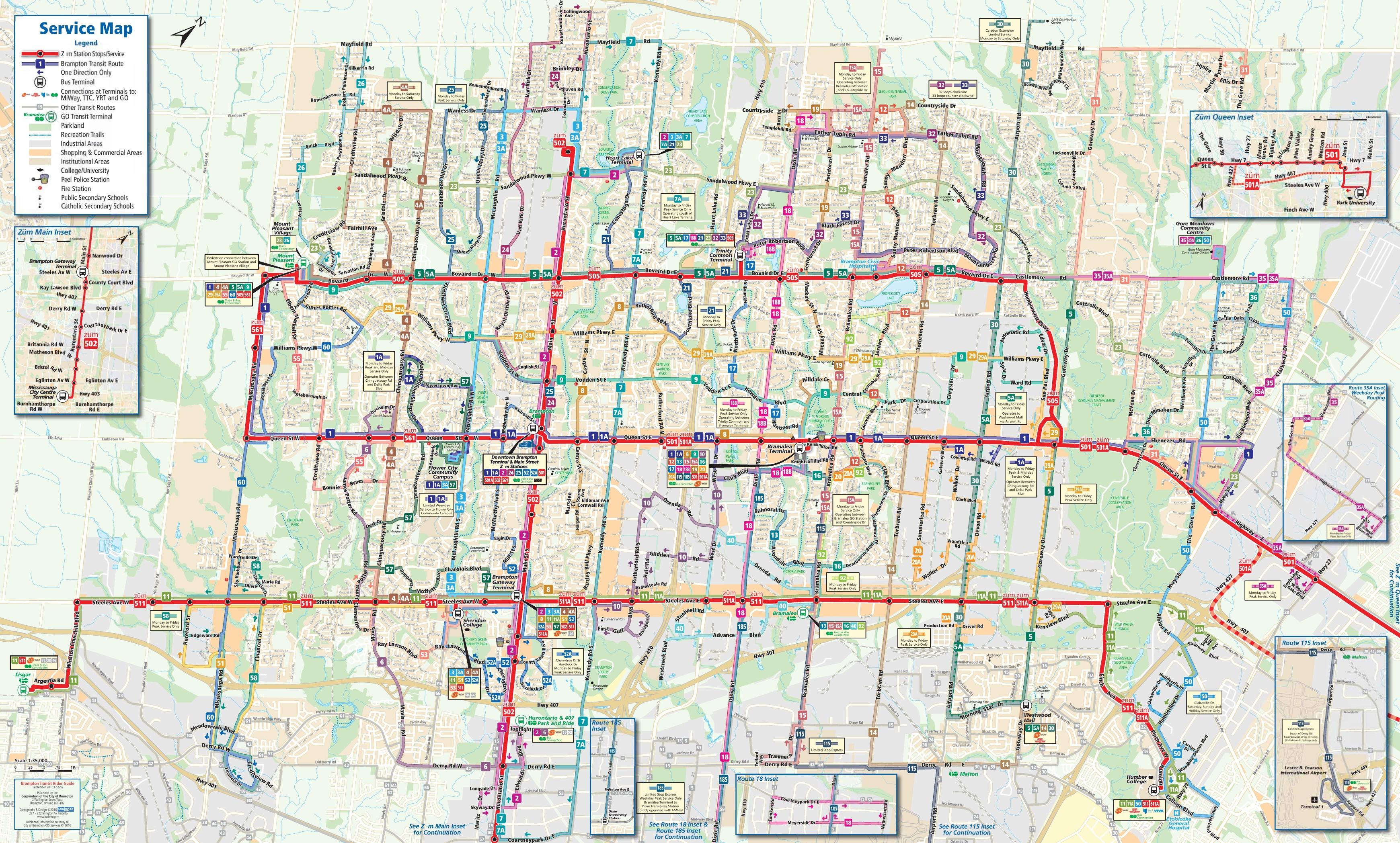Brampton Canada Map.Brampton Transport Map