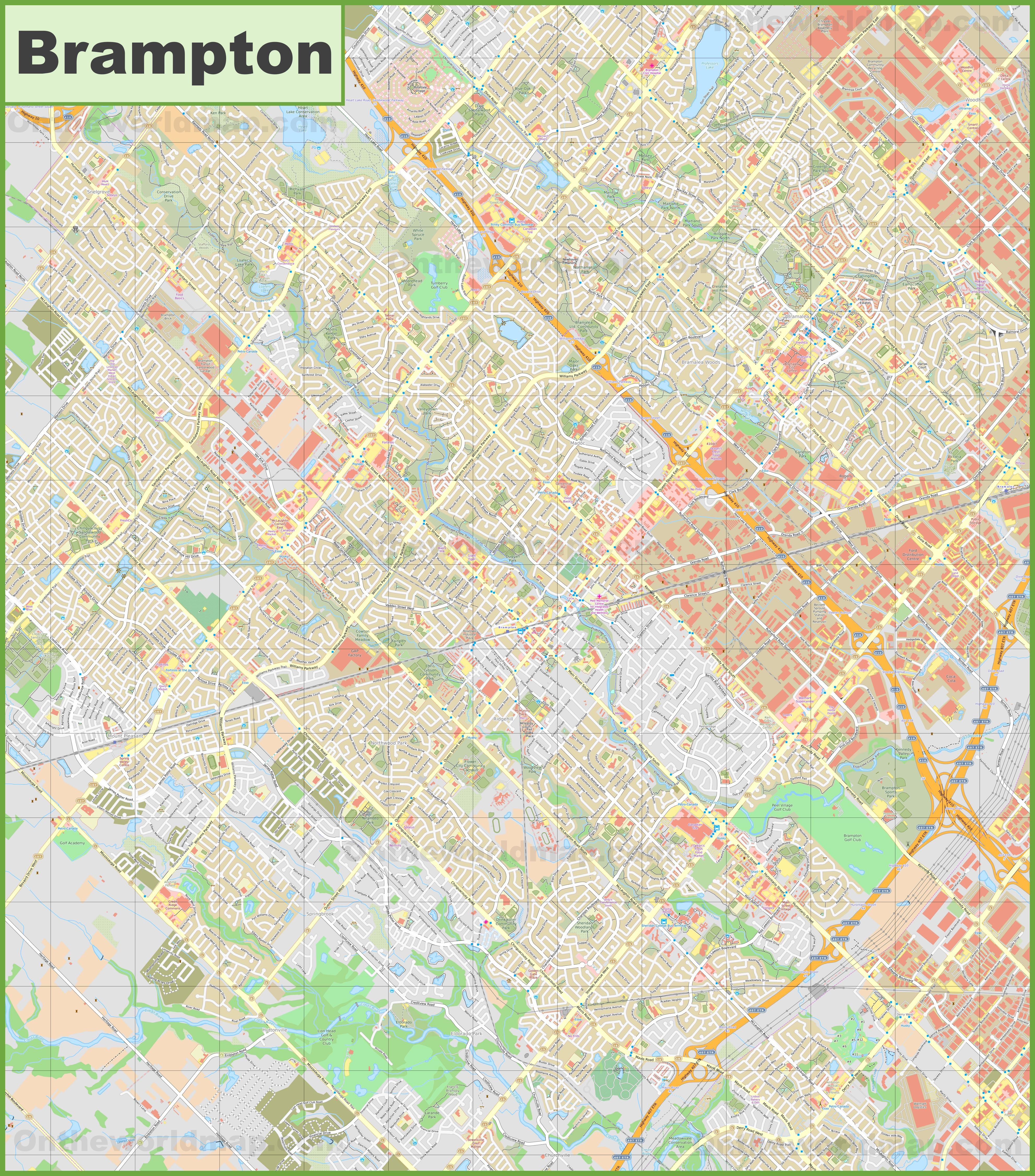 Brampton Canada Map.Large Detailed Map Of Brampton