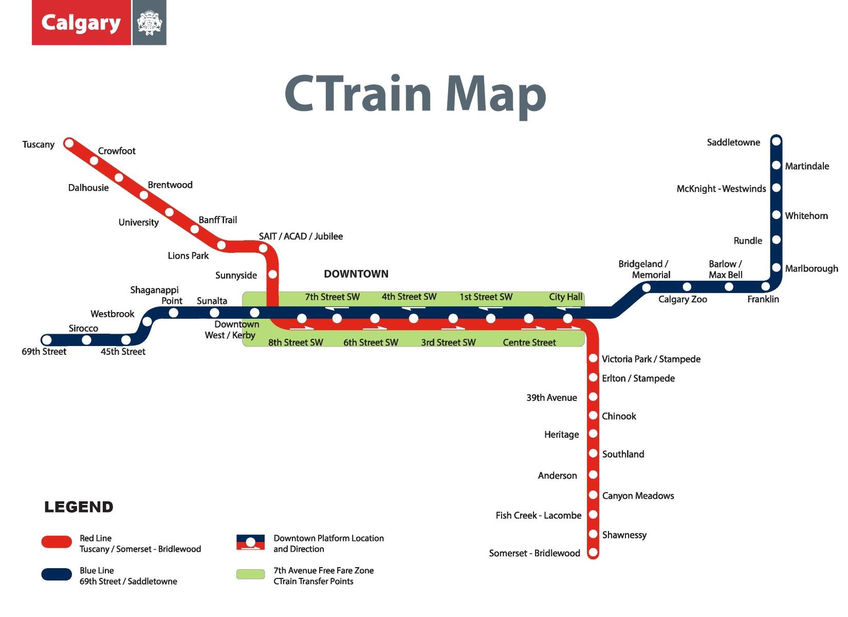 Calgary CTrain map