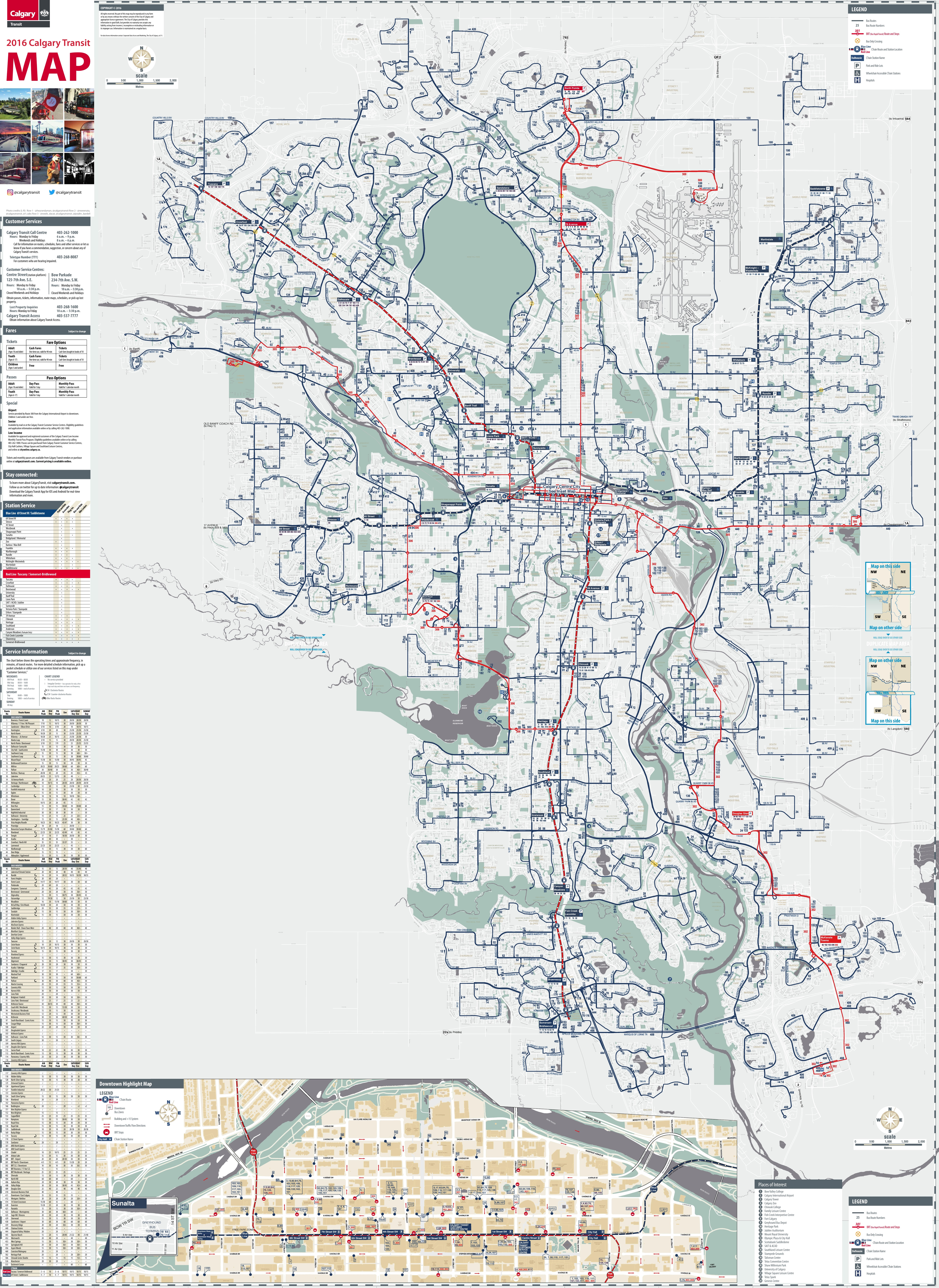 Calgary transport map