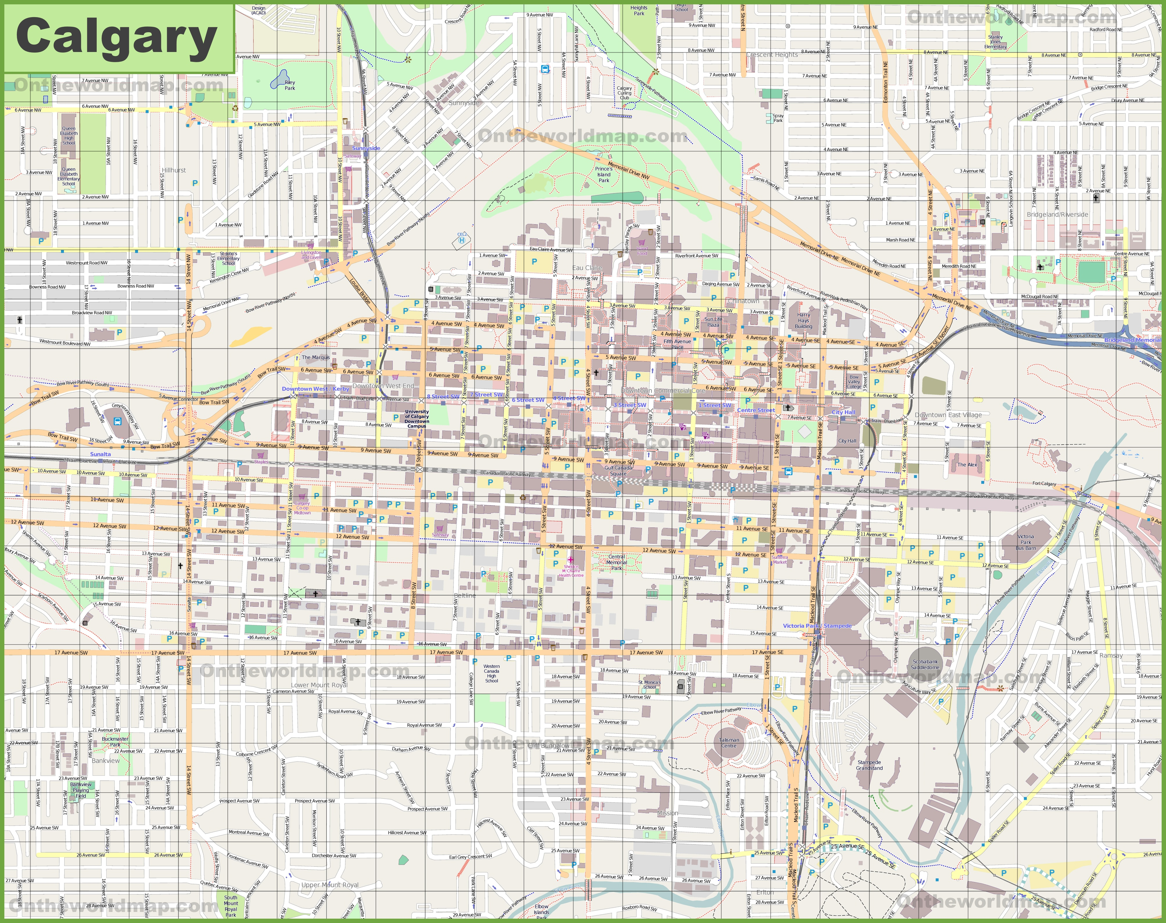 Large detailed map of Calgary
