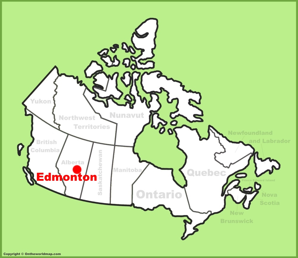 Edmonton location on the Canada Map