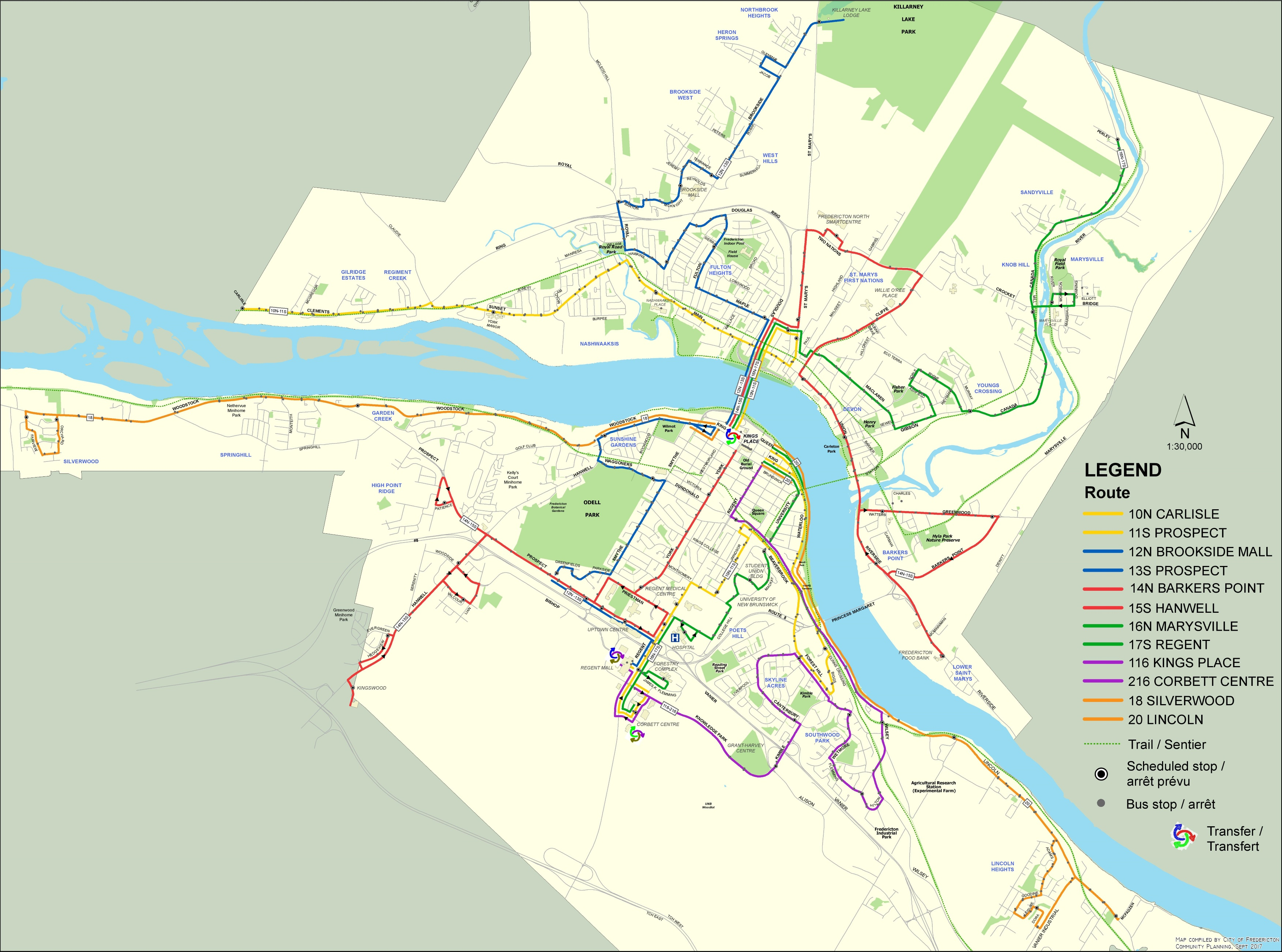 Fredericton bus map