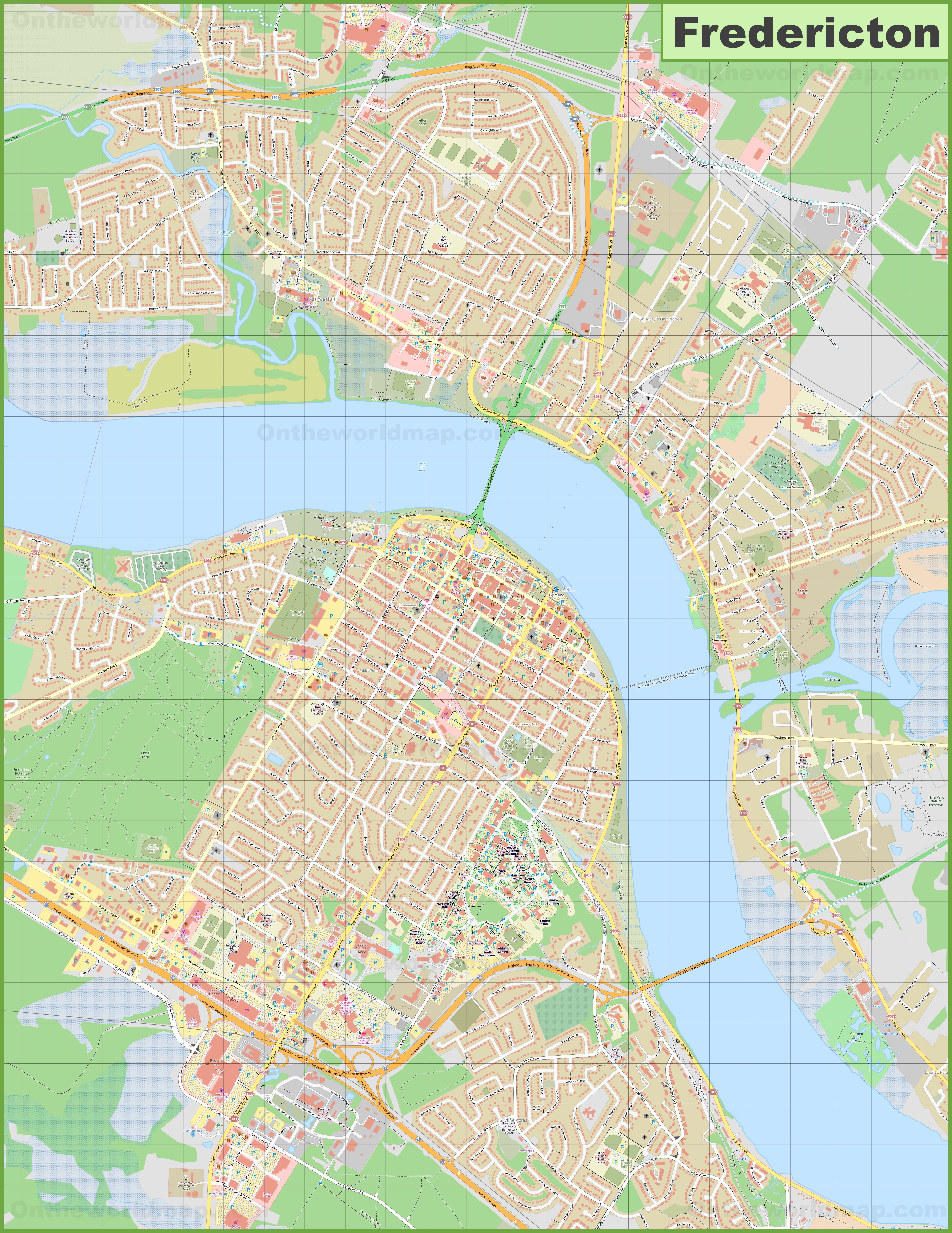 Large detailed map of Fredericton