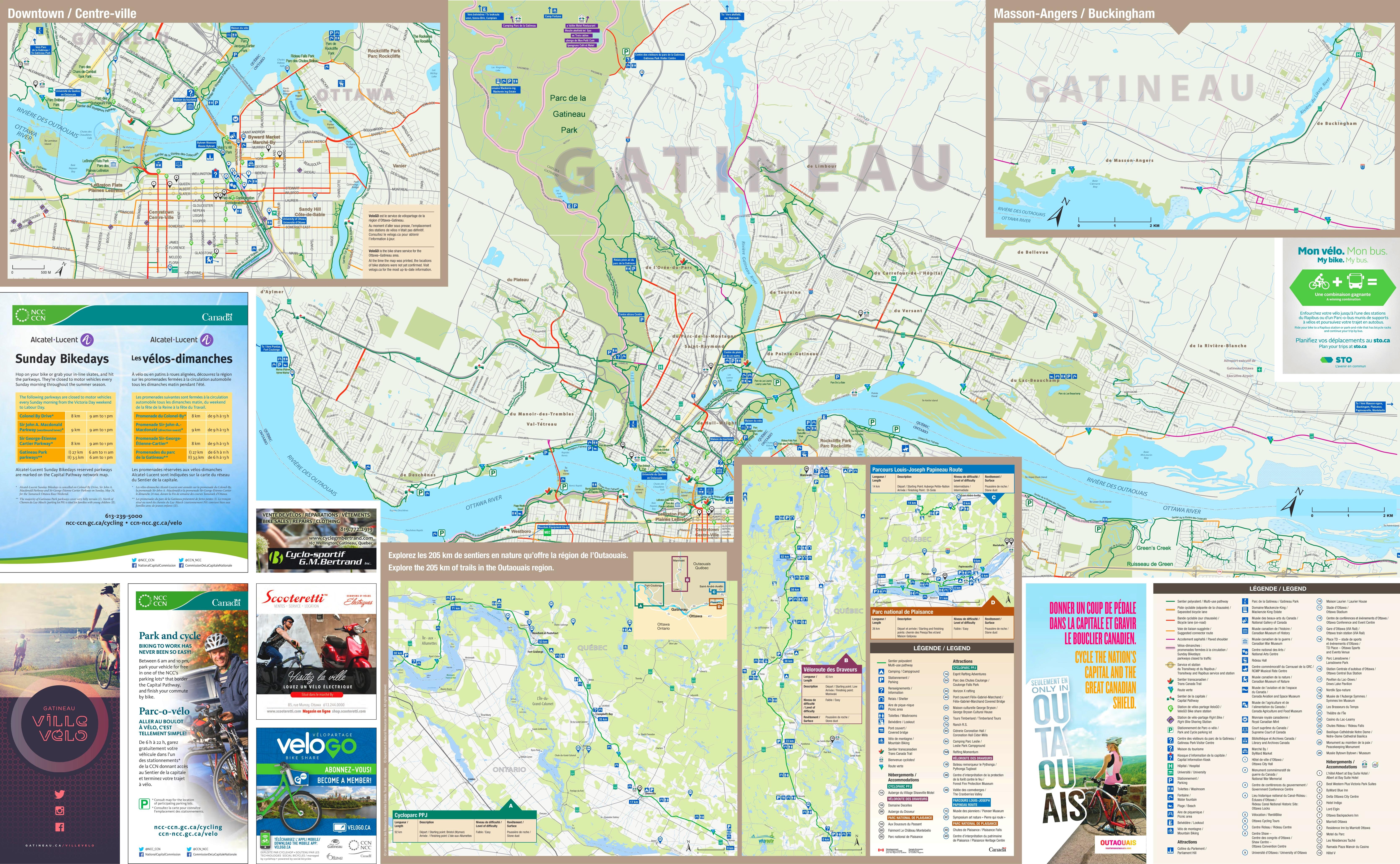 Gatineau cycling map