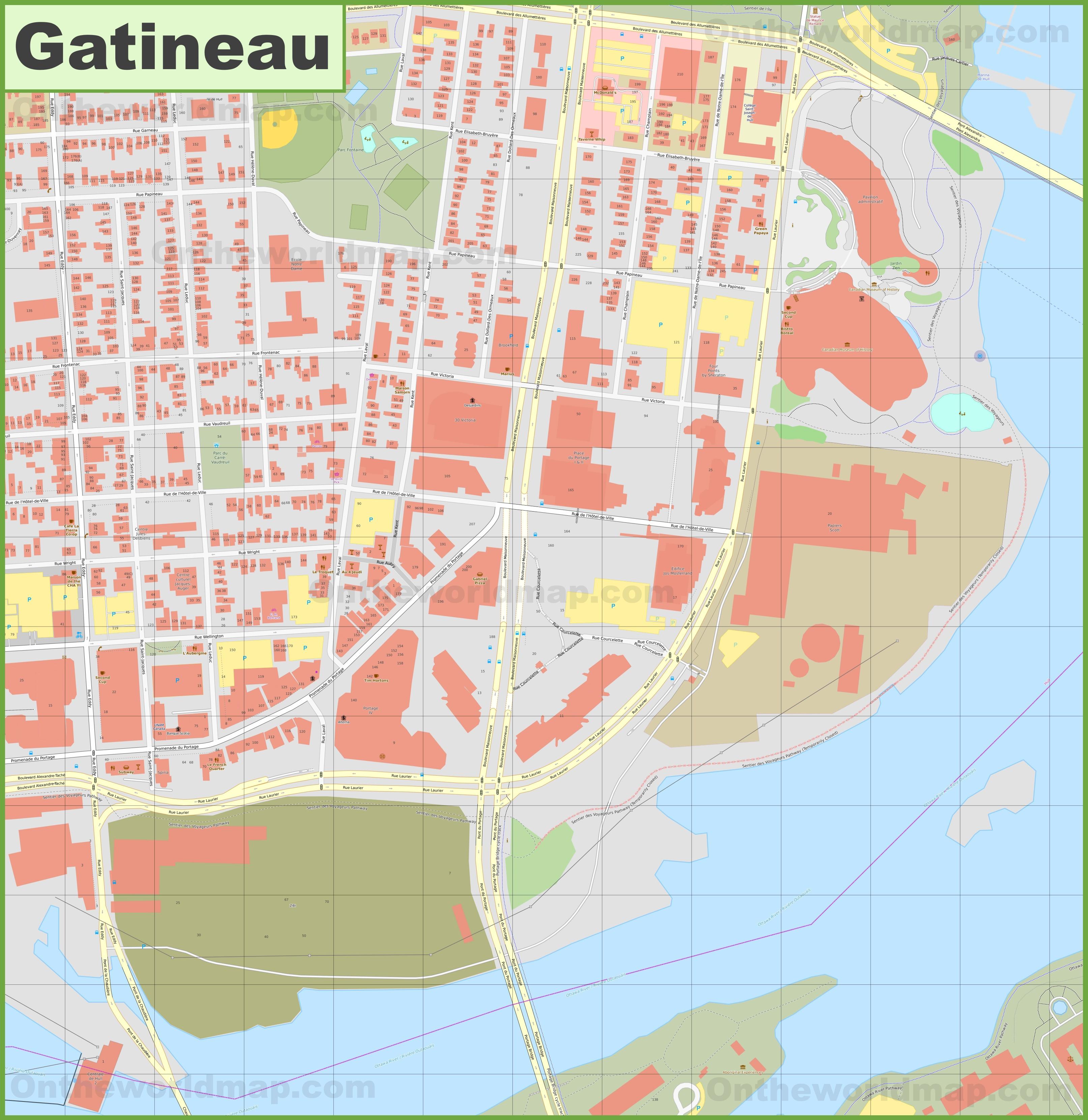 Gatineau Hull downtown map