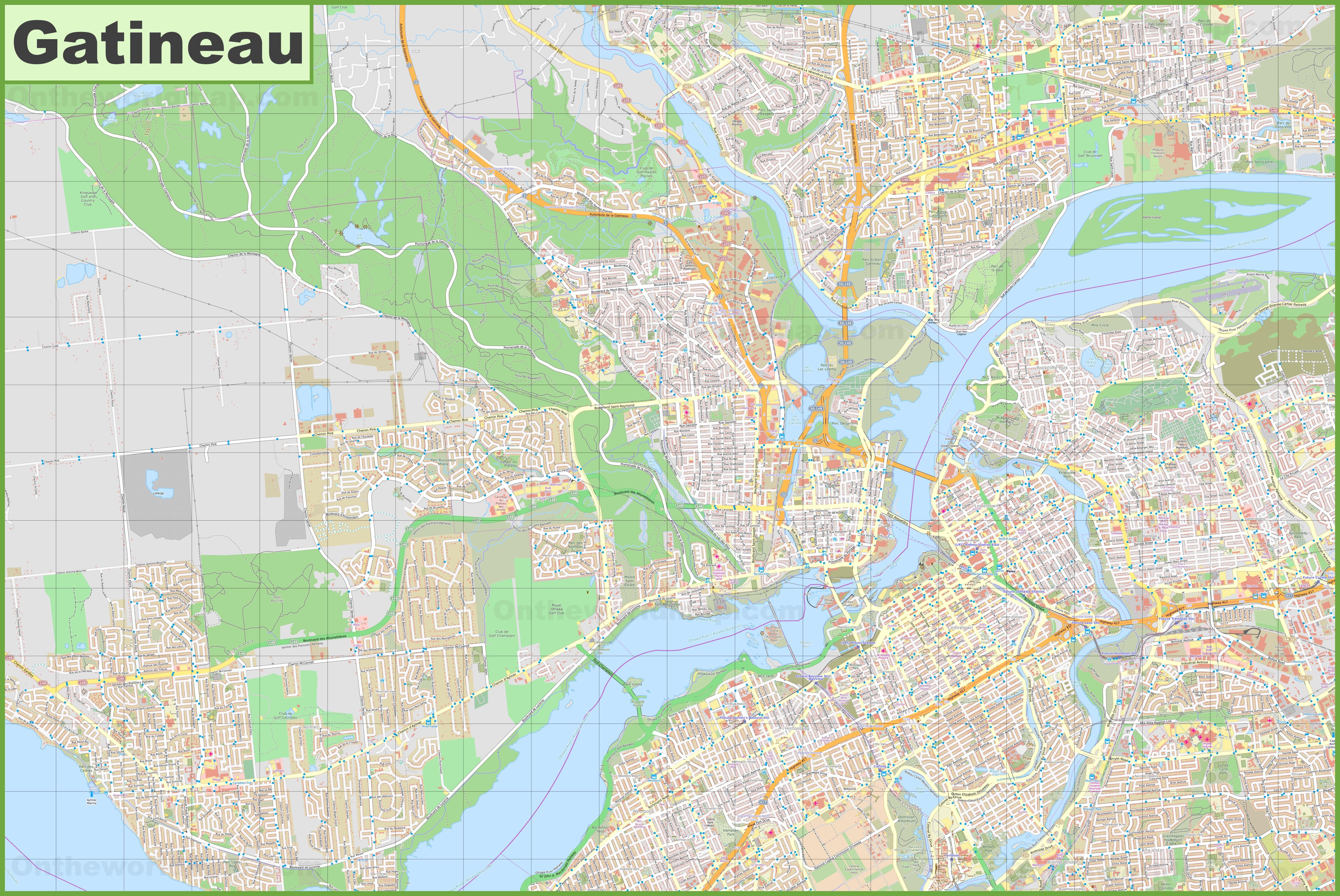 Large detailed map of Gatineau