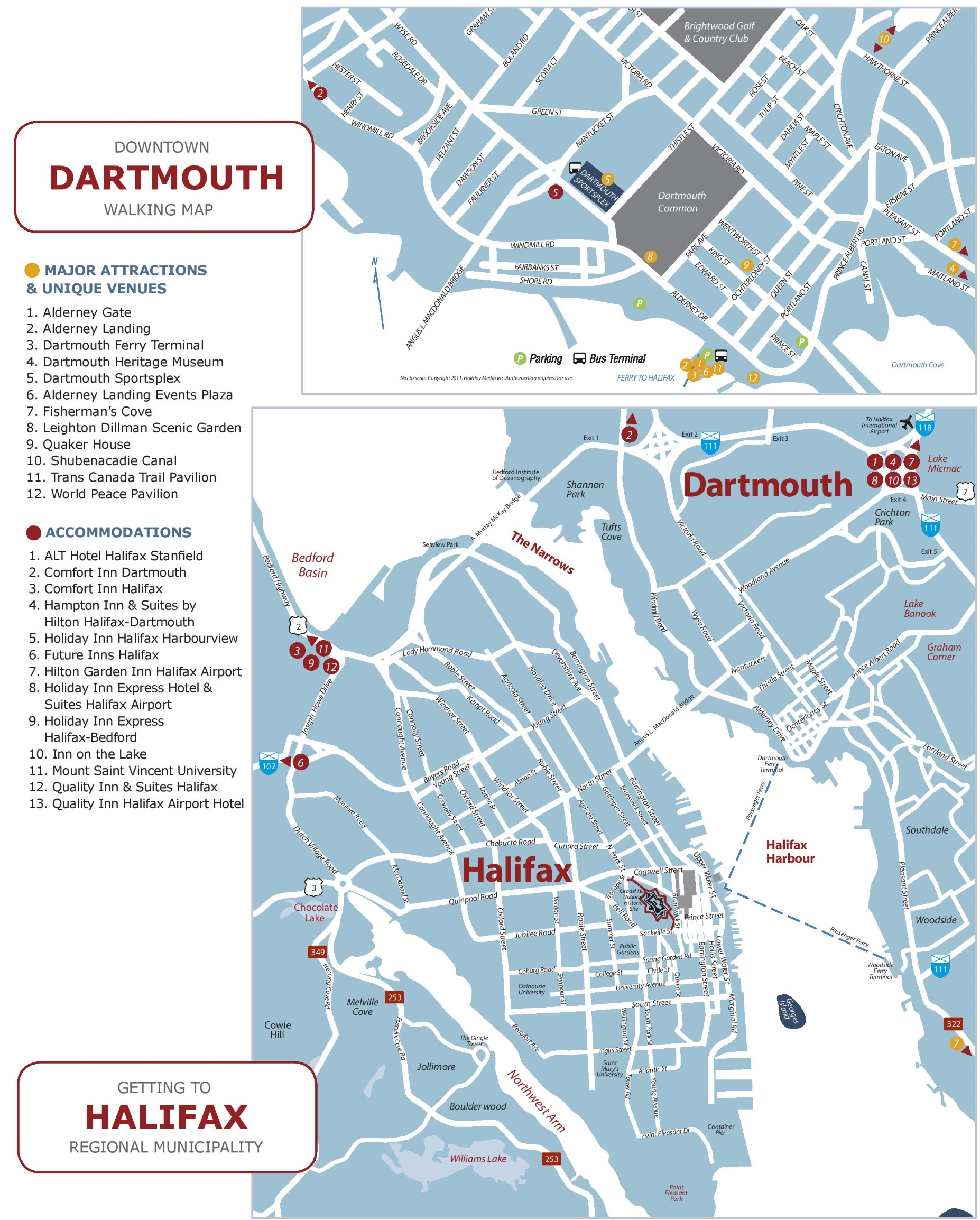 Halifax and Dartmouth tourist map
