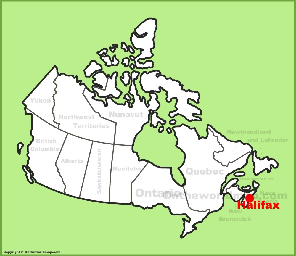 Halifax location on the Canada Map