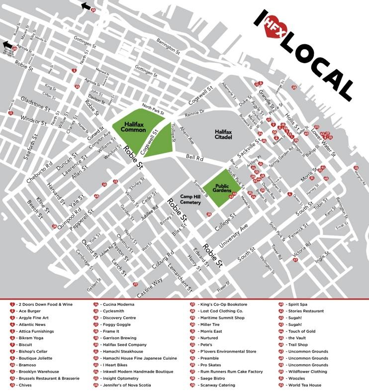 Halifax restaurants map