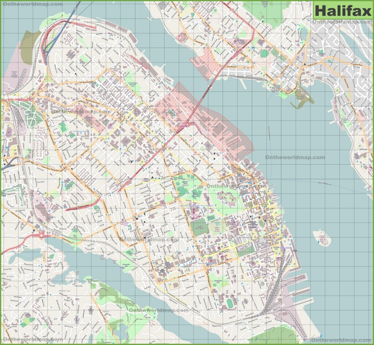 Large detailed map of Halifax