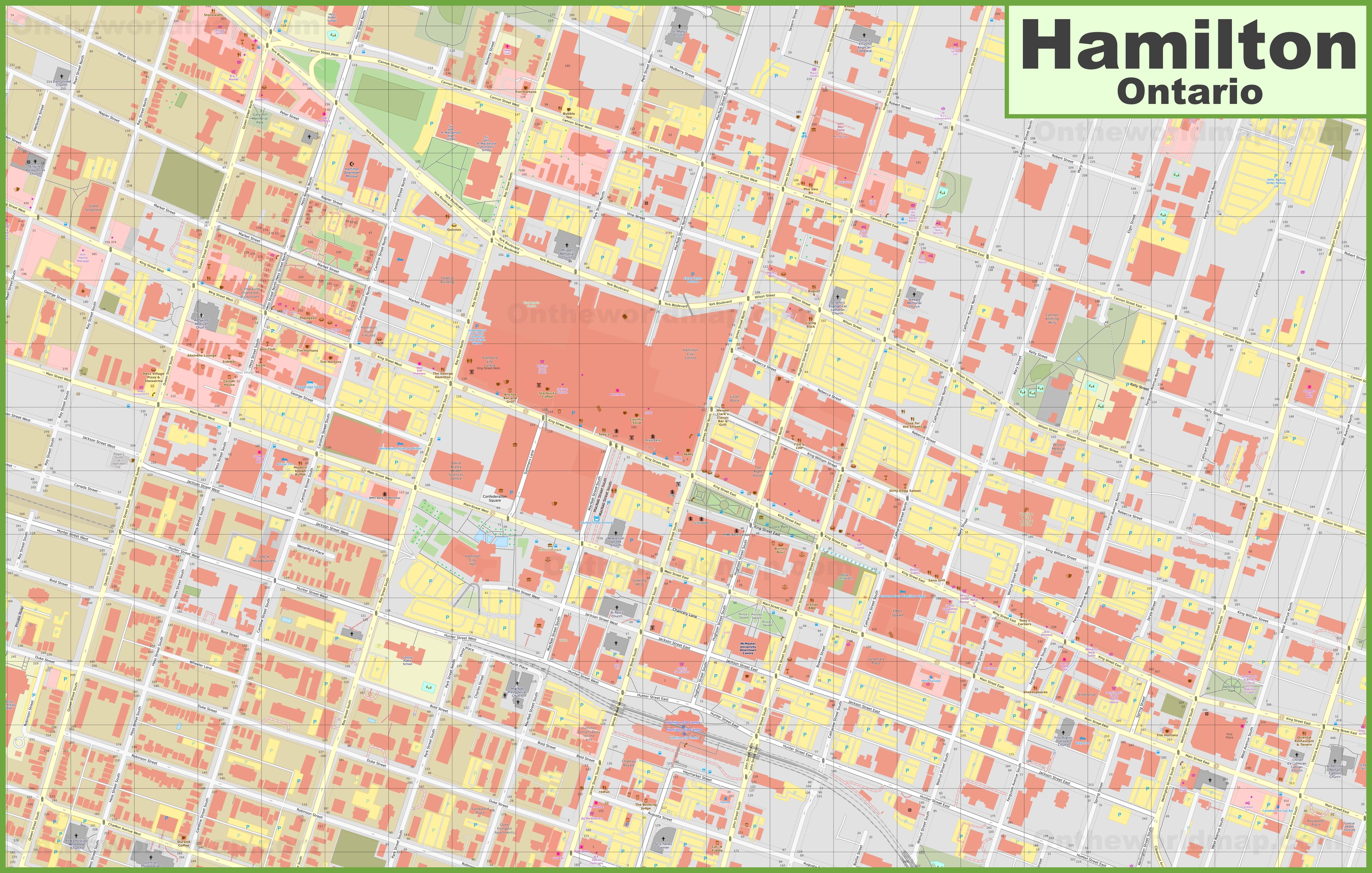Hamilton downtown map