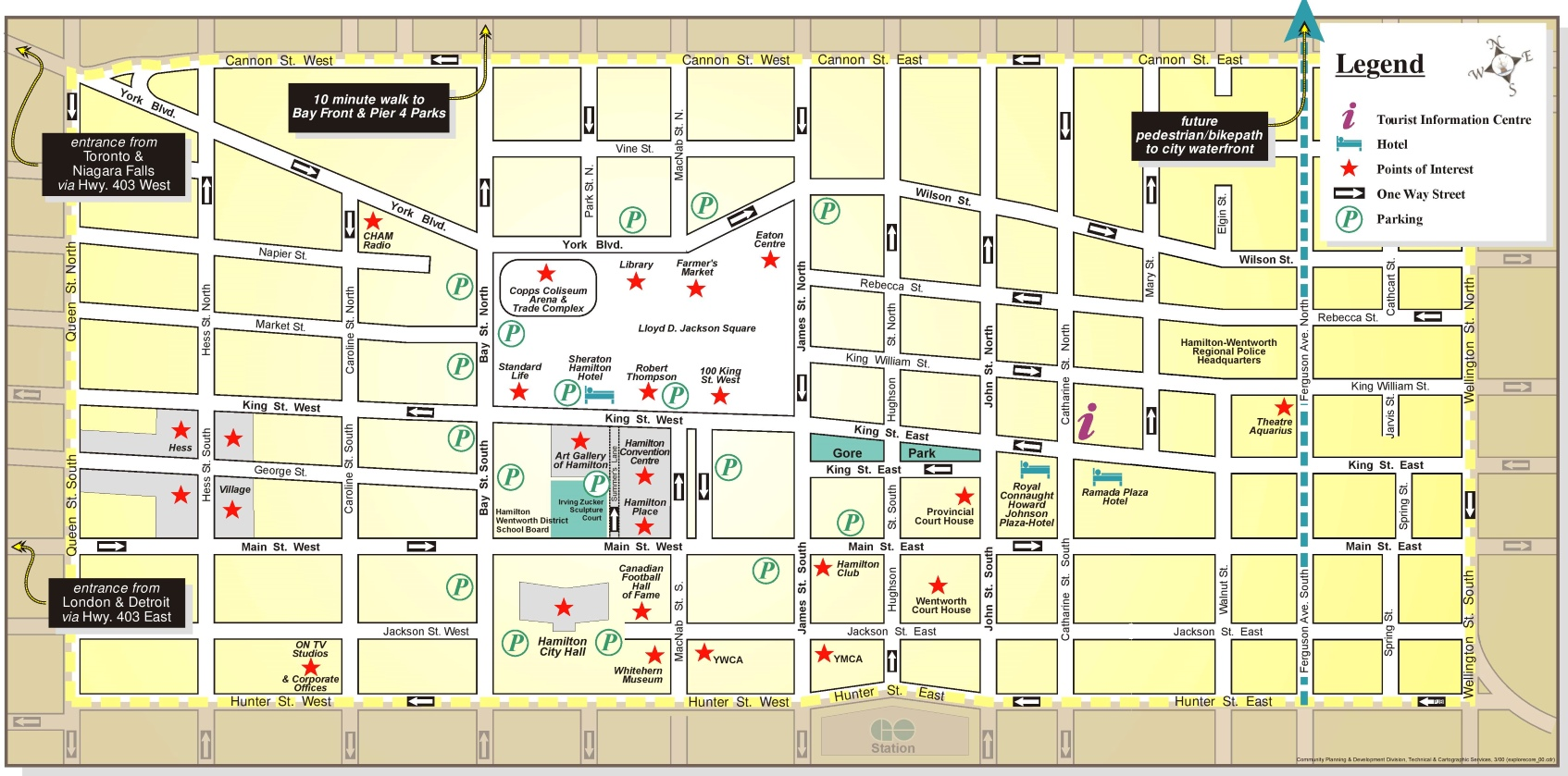 hamilton hotels and sightseeings map