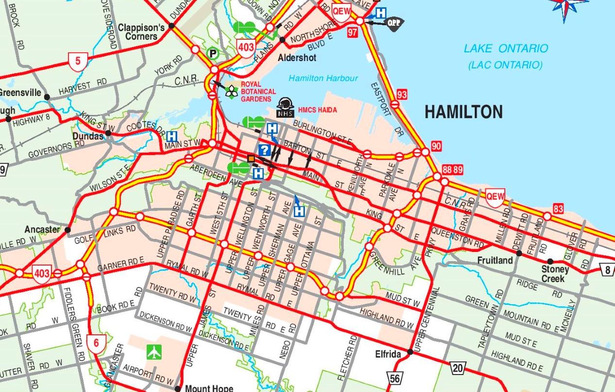 Hamilton Canada Map Hamilton road map