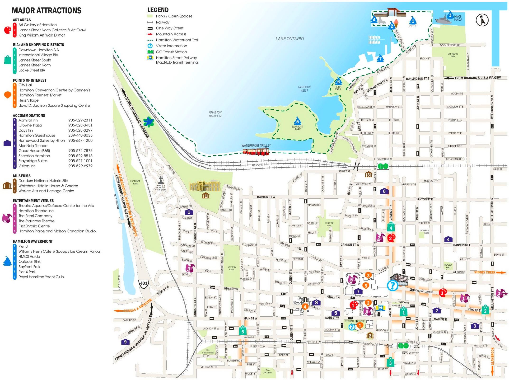 Hamilton Canada Map Hamilton tourist map