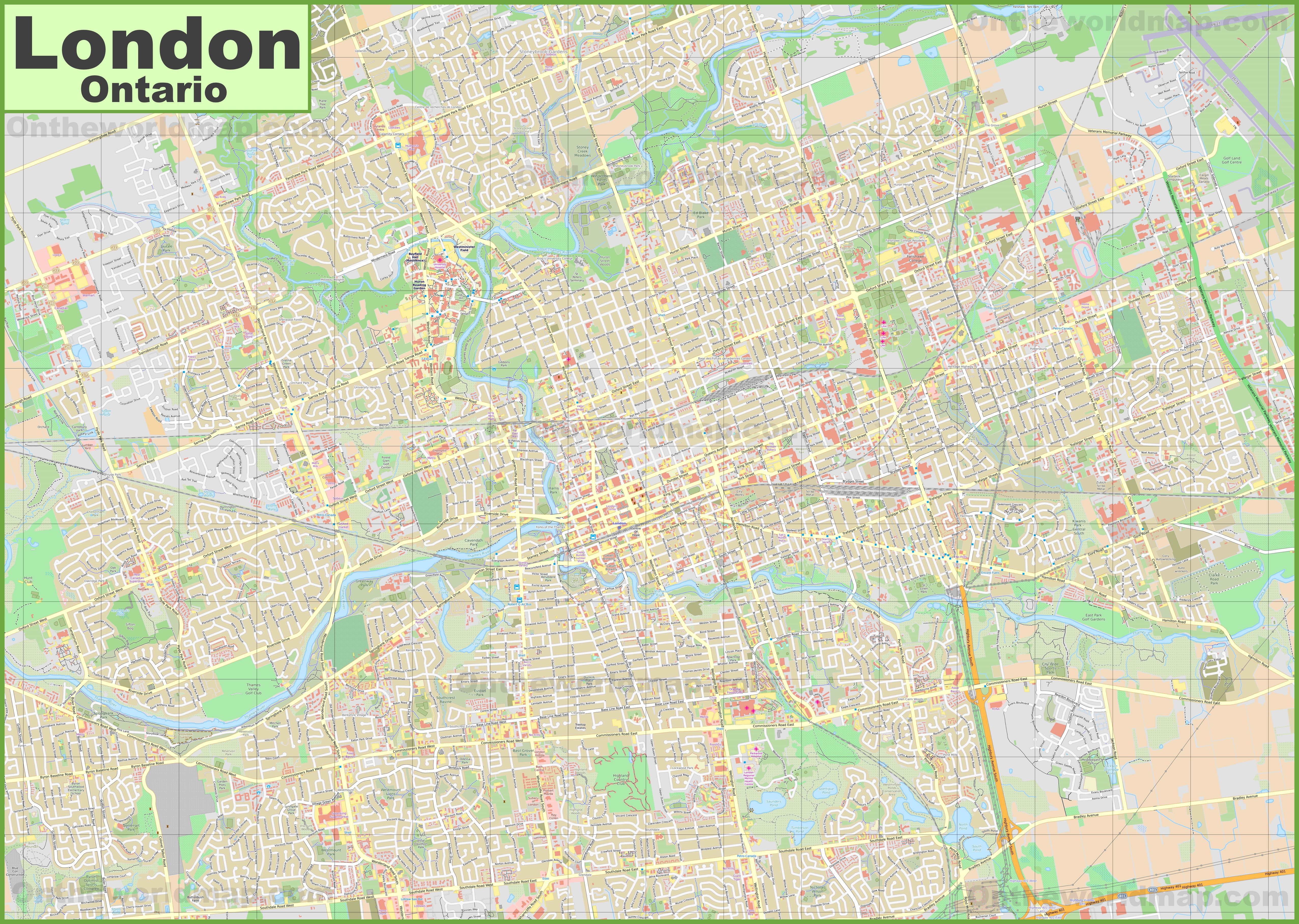 London Canada Map Large detailed map of London (Ontario)