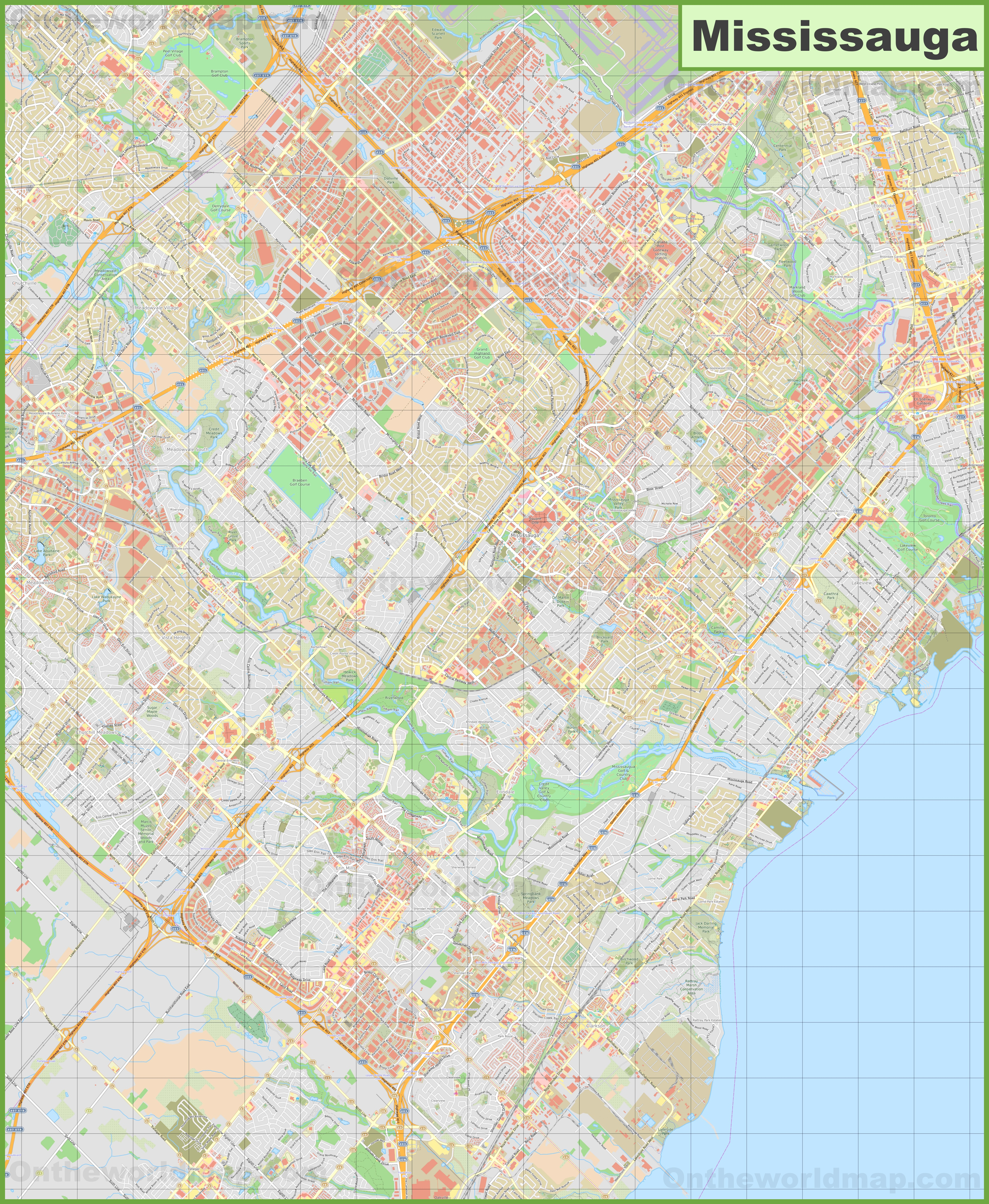 Large Detailed Map Of Mississauga