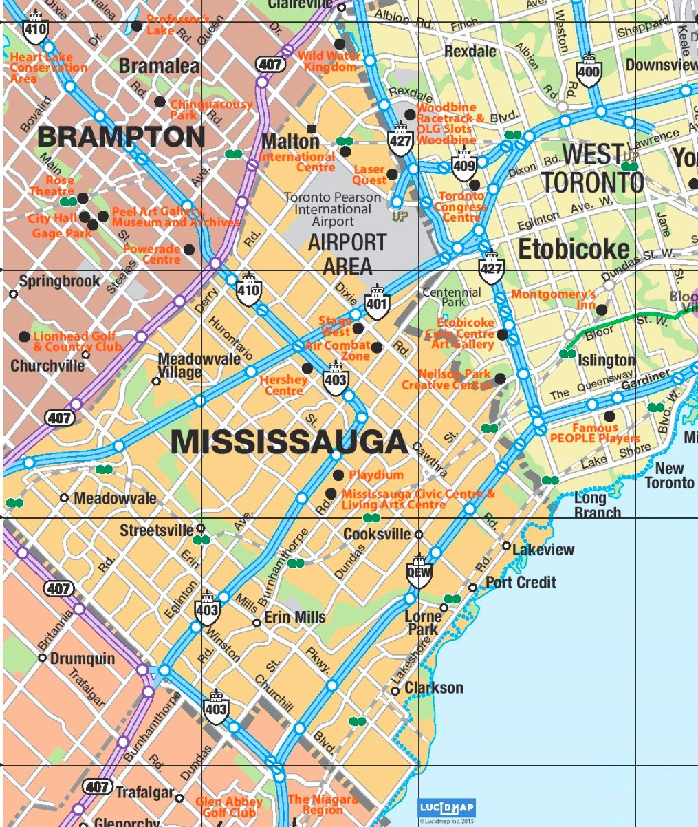 Mississauga Area Road Map