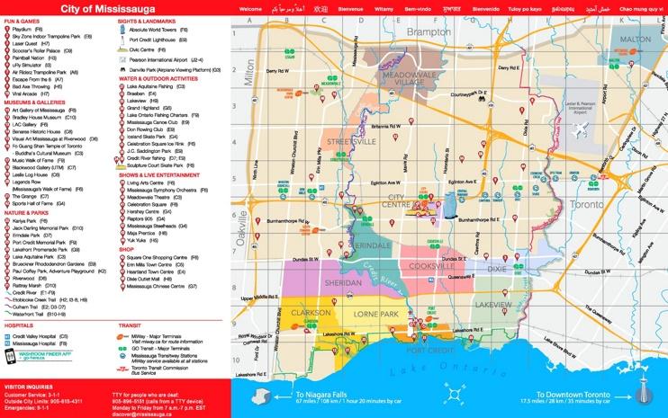 Mississauga tourist map