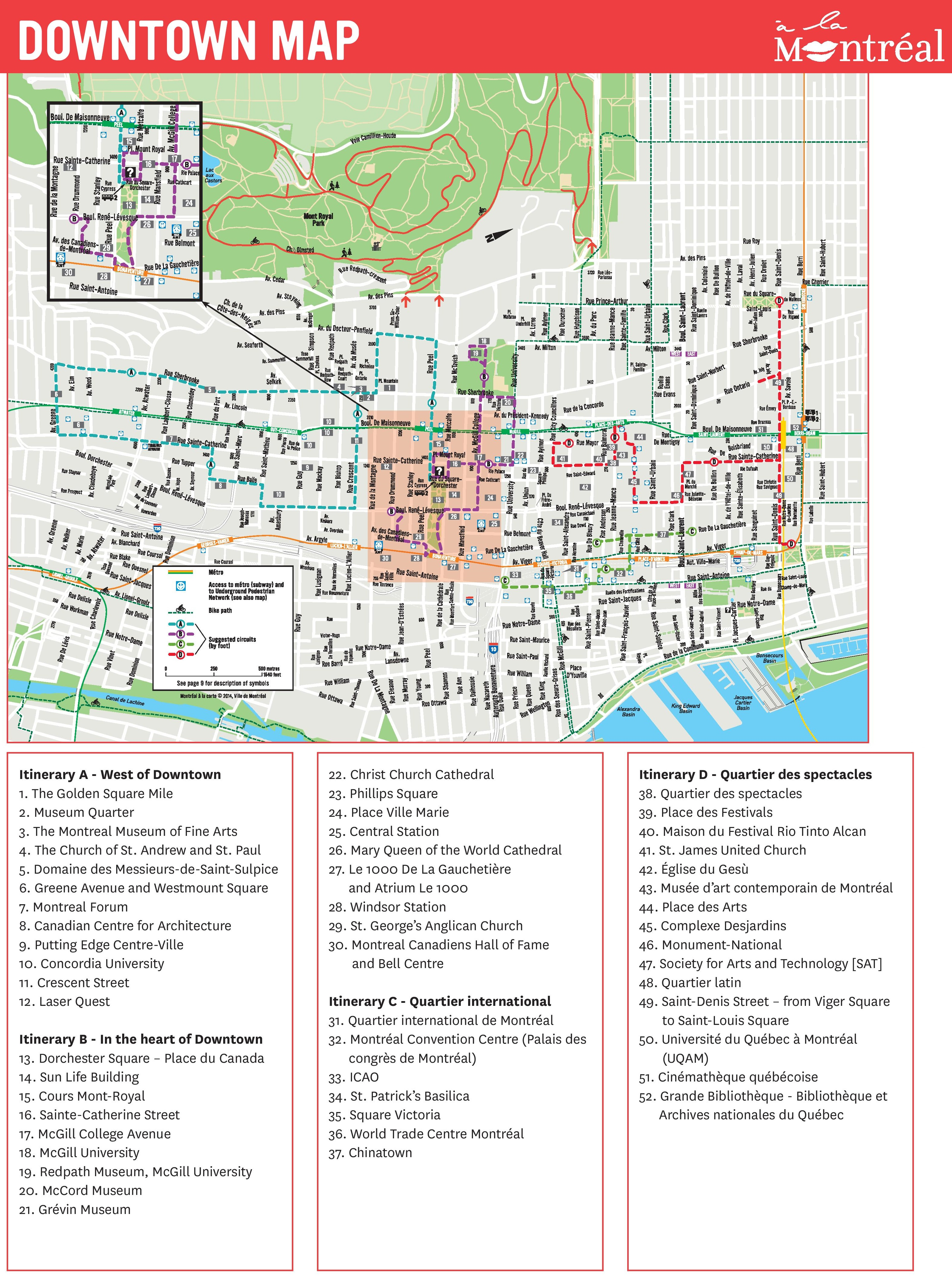 photograph relating to Printable Map of Montreal identified as Montreal downtown map