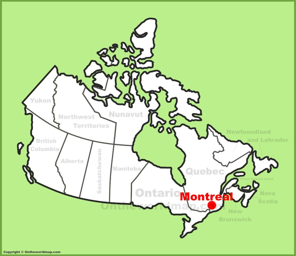 Montreal, Canada Map Montreal location on the Canada Map