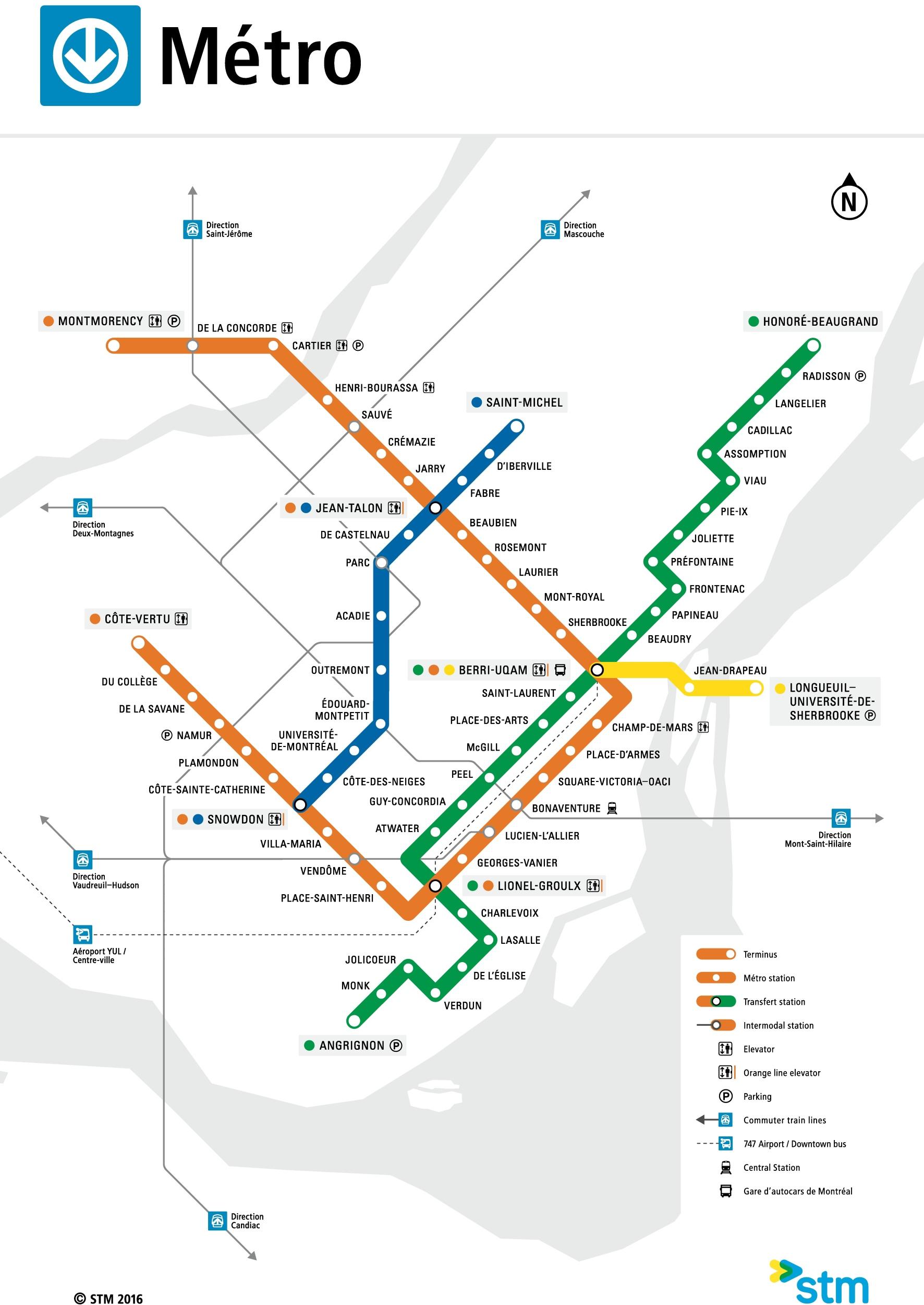Montreal Canada Metro Map Montreal metro map