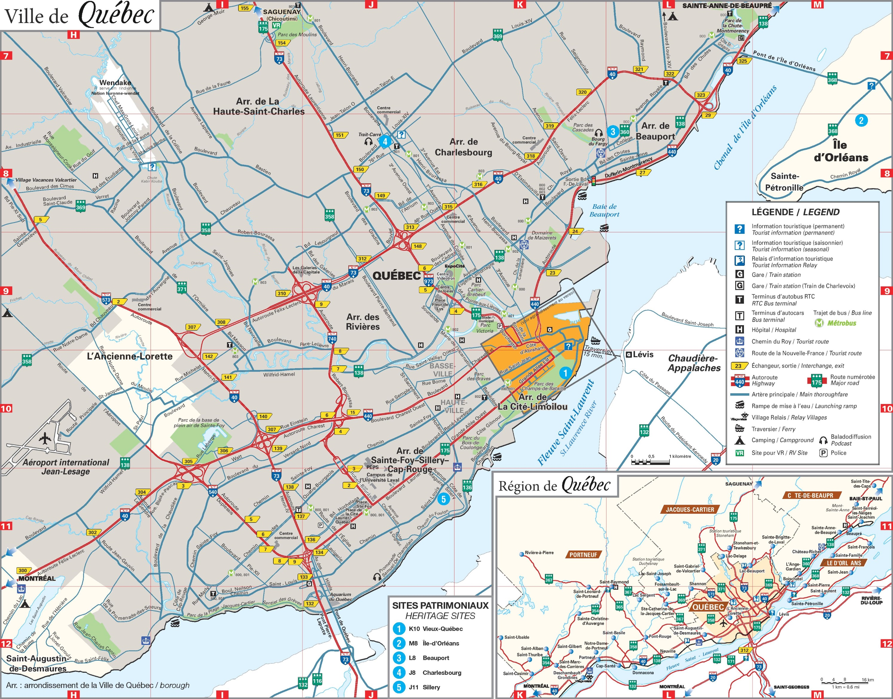 . quebec city area map