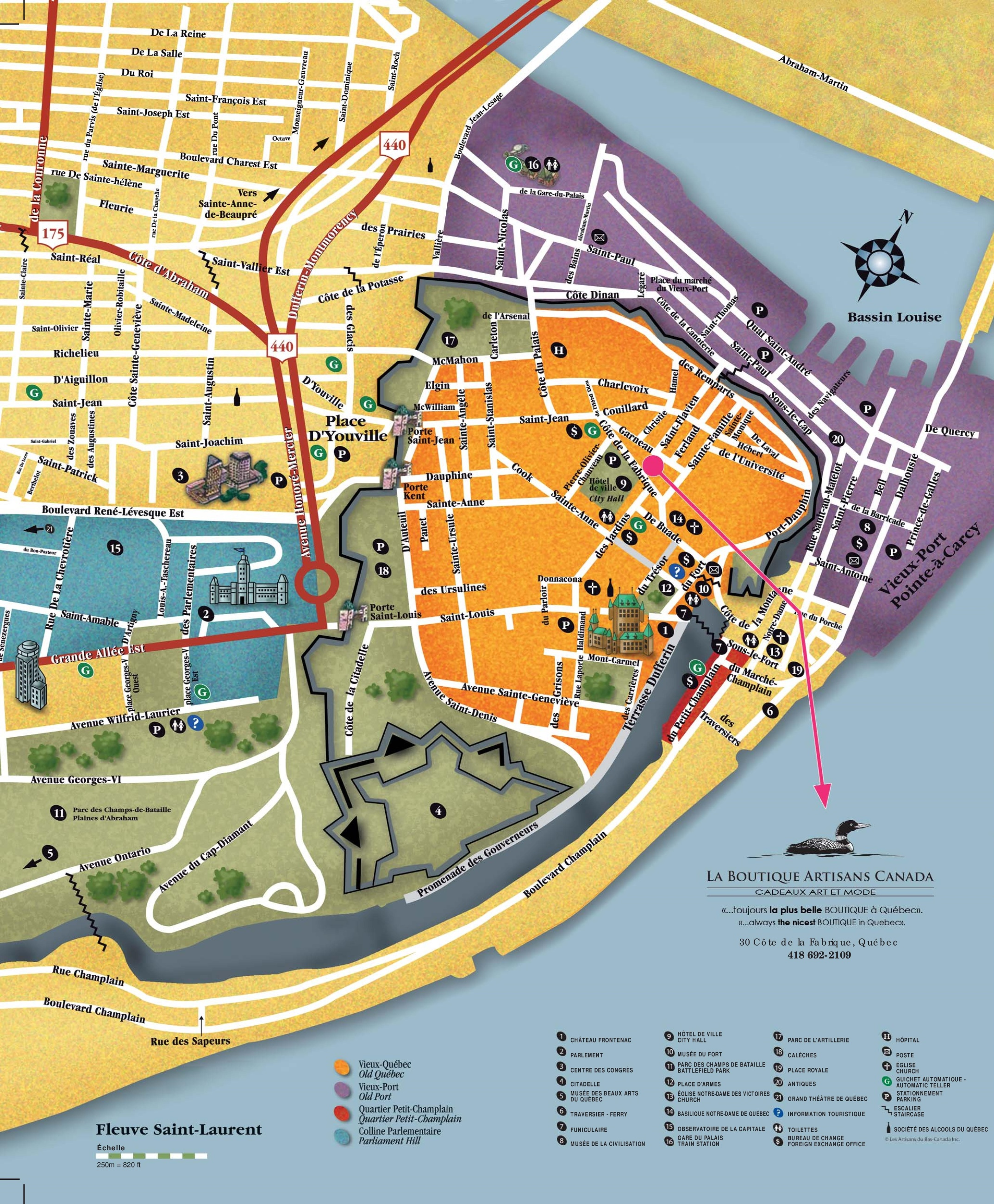 Map Of Quebec City Quebec City sightseeing map