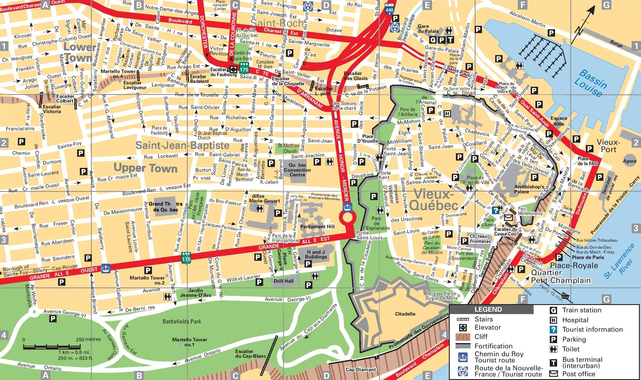 Quebec City Map Quebec City tourist map