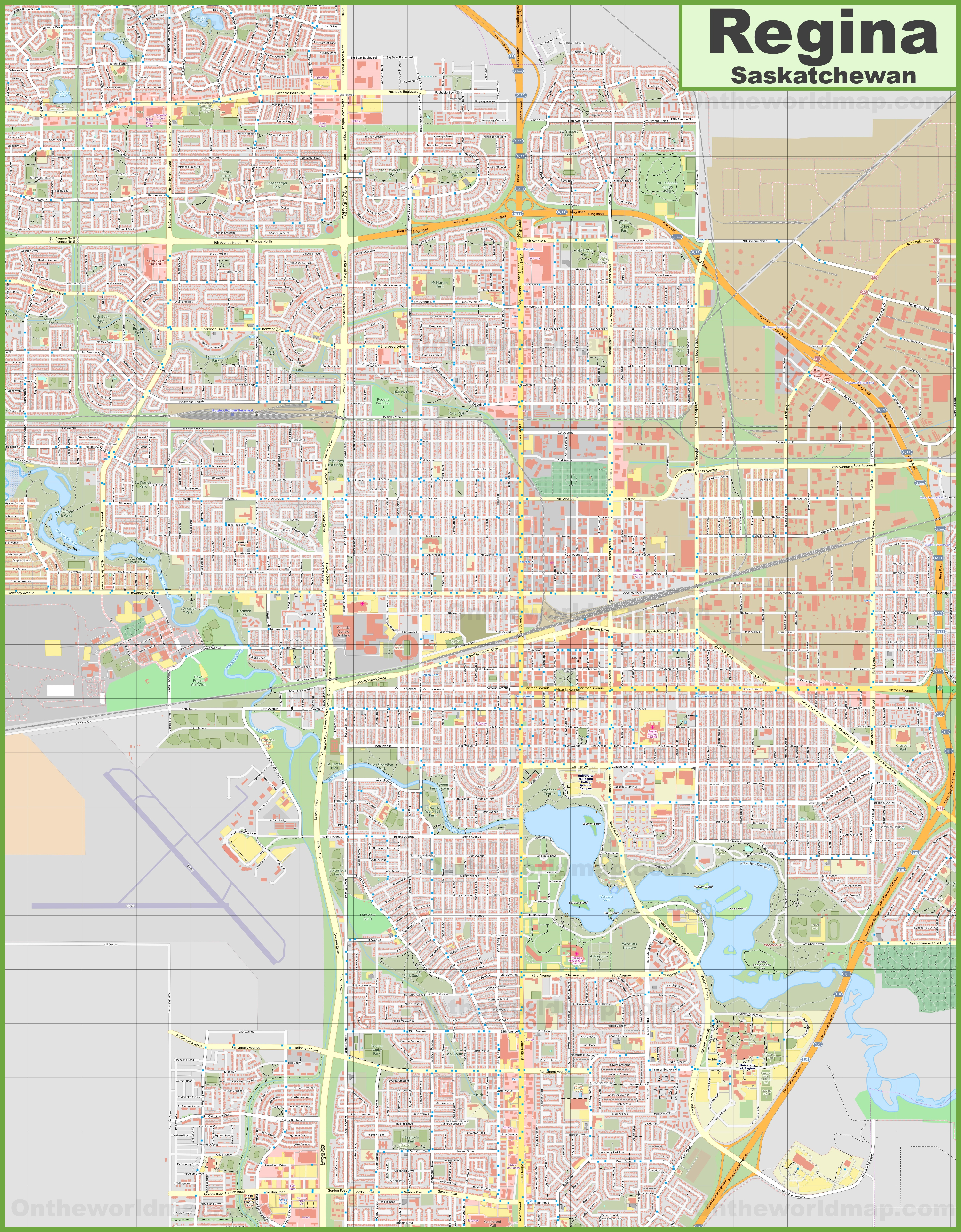 Large detailed map of Regina Saskatchewan