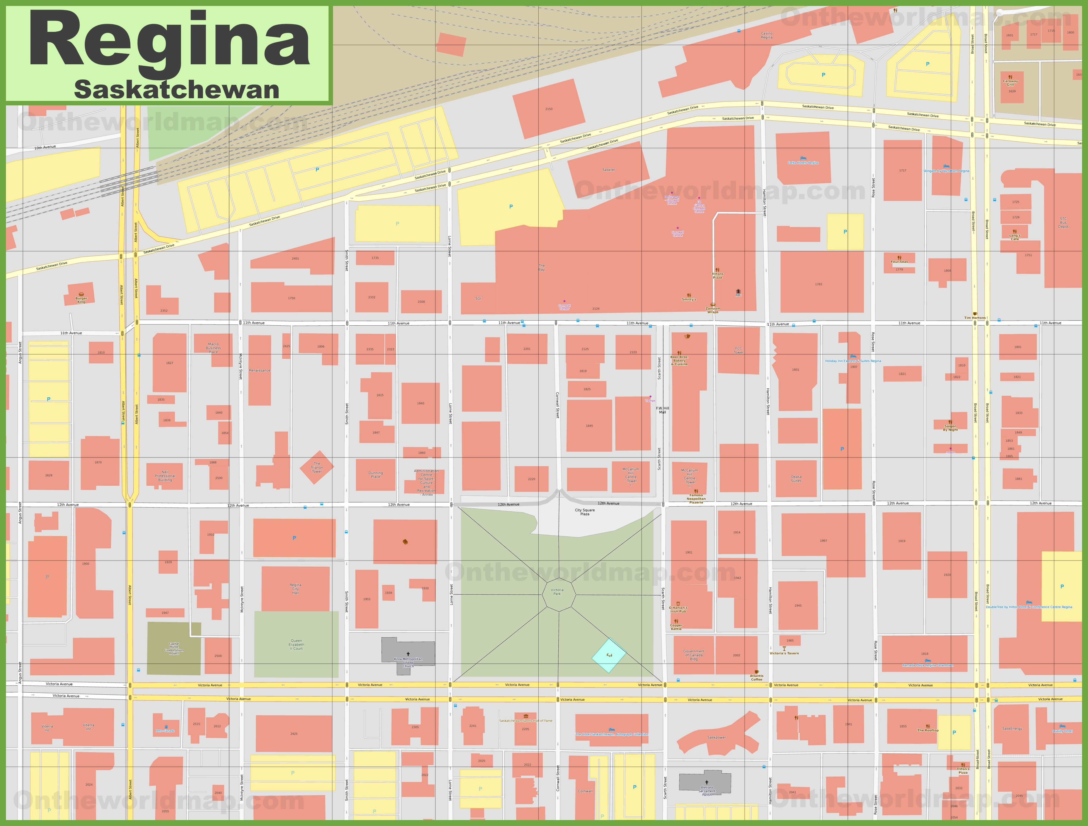 Regina downtown map