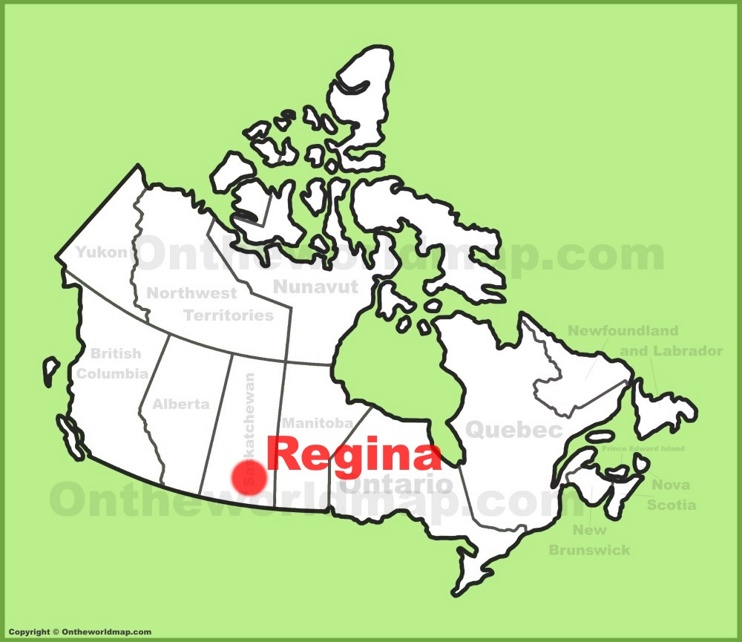 Regina location on the Canada Map