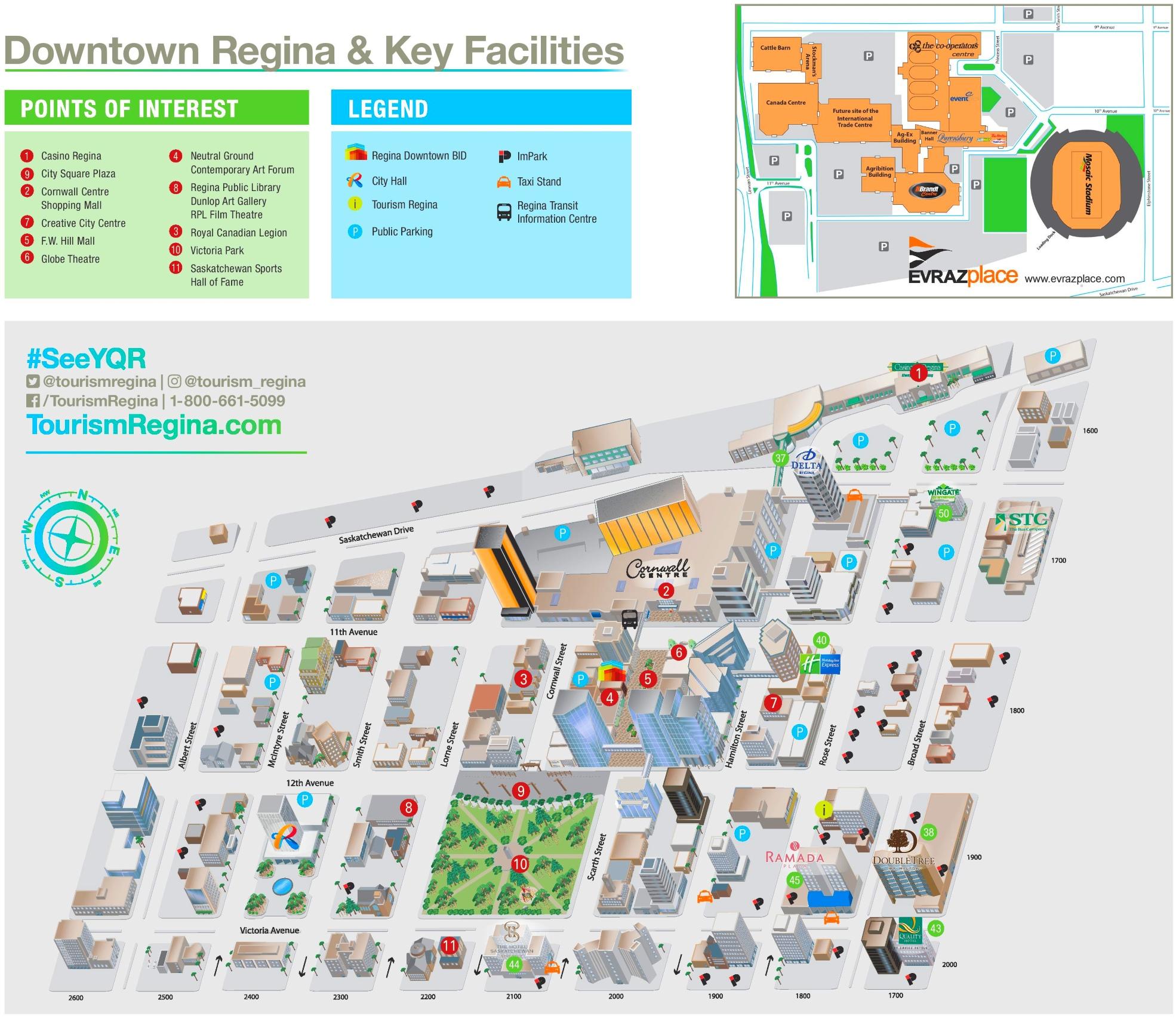 Regina tourist map