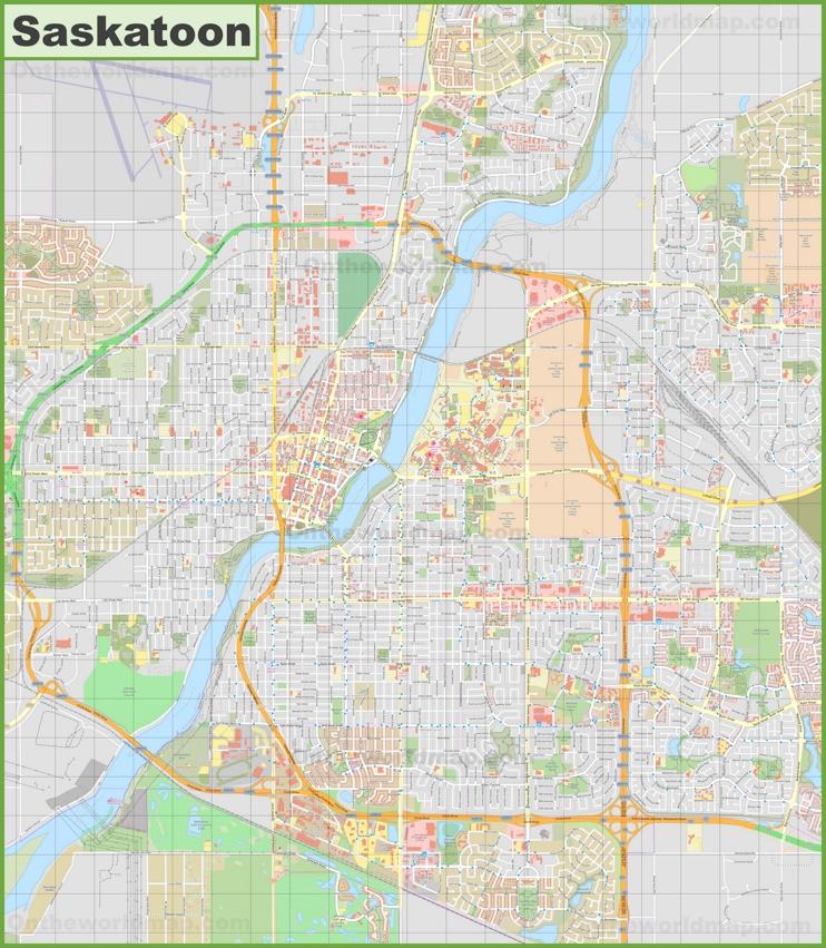 Saskatoon City Map Large detailed map of Saskatoon