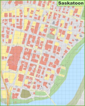 Saskatoon downtown map