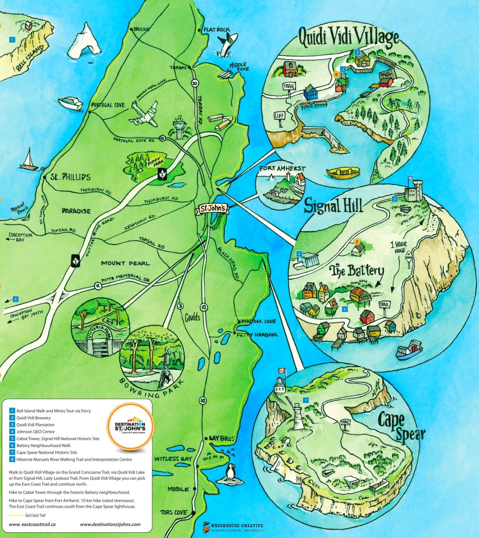 St. John's Area Tourist Map