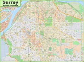 Large detailed map of Surrey