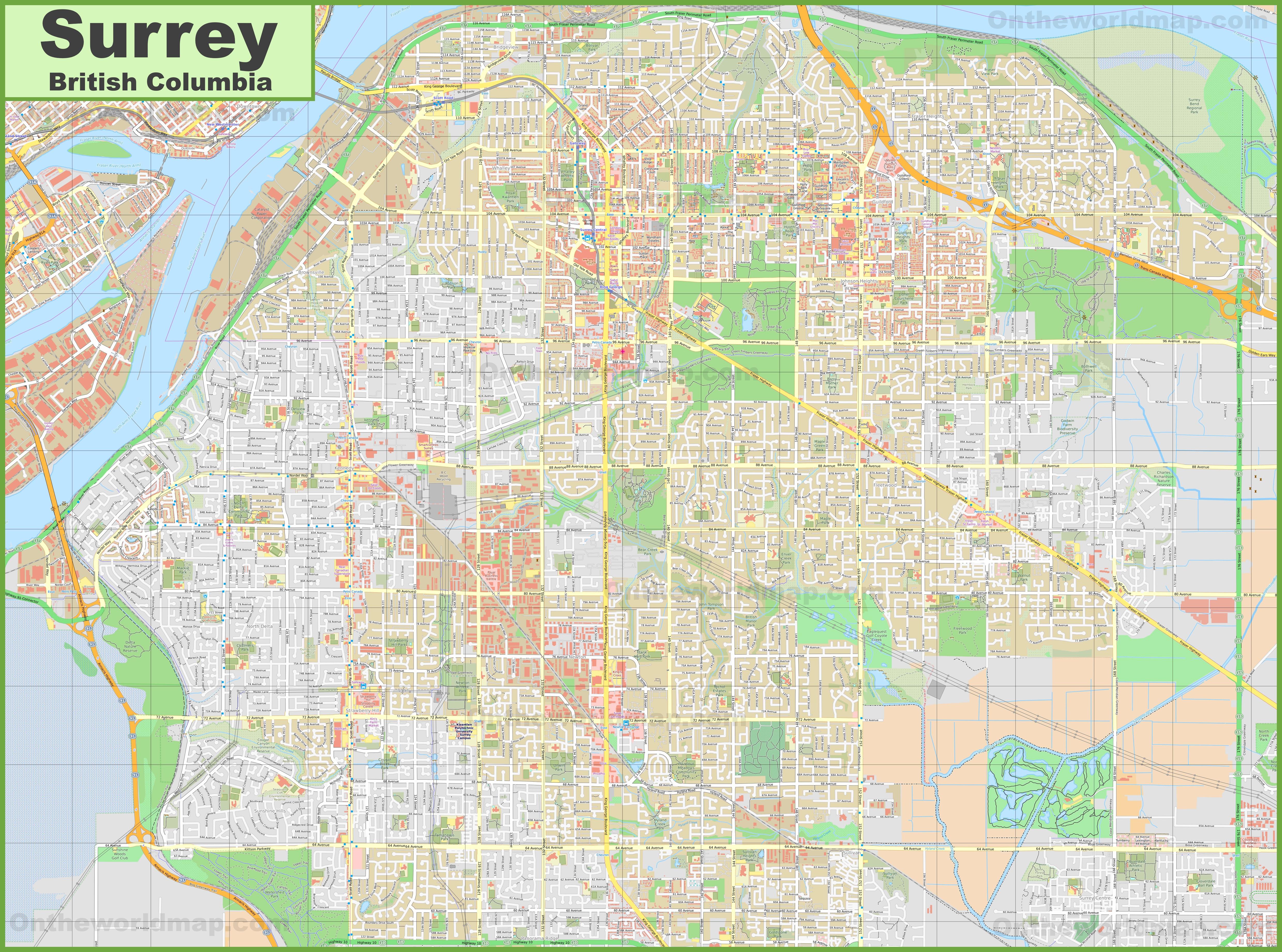 Large detailed map of Surrey on alaska map, alberta map, calgary map, london map, or map, manitoba map, india map, surrey map, british columbia map, brazil map, costa rica map, nova scotia map, maryland map, ks map, united kingdom map, hungary map, madagascar map, de map, ontario map, vancouver map,