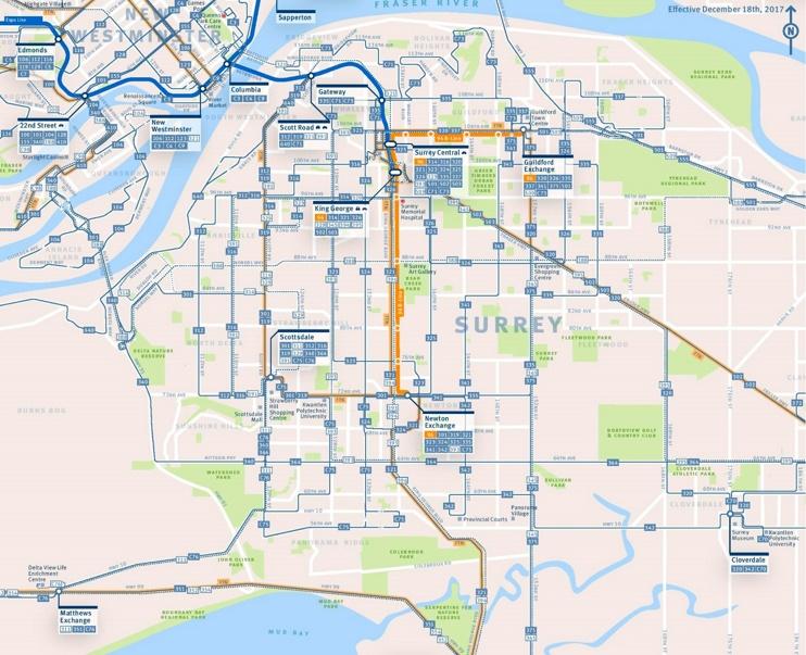 Surrey transport map