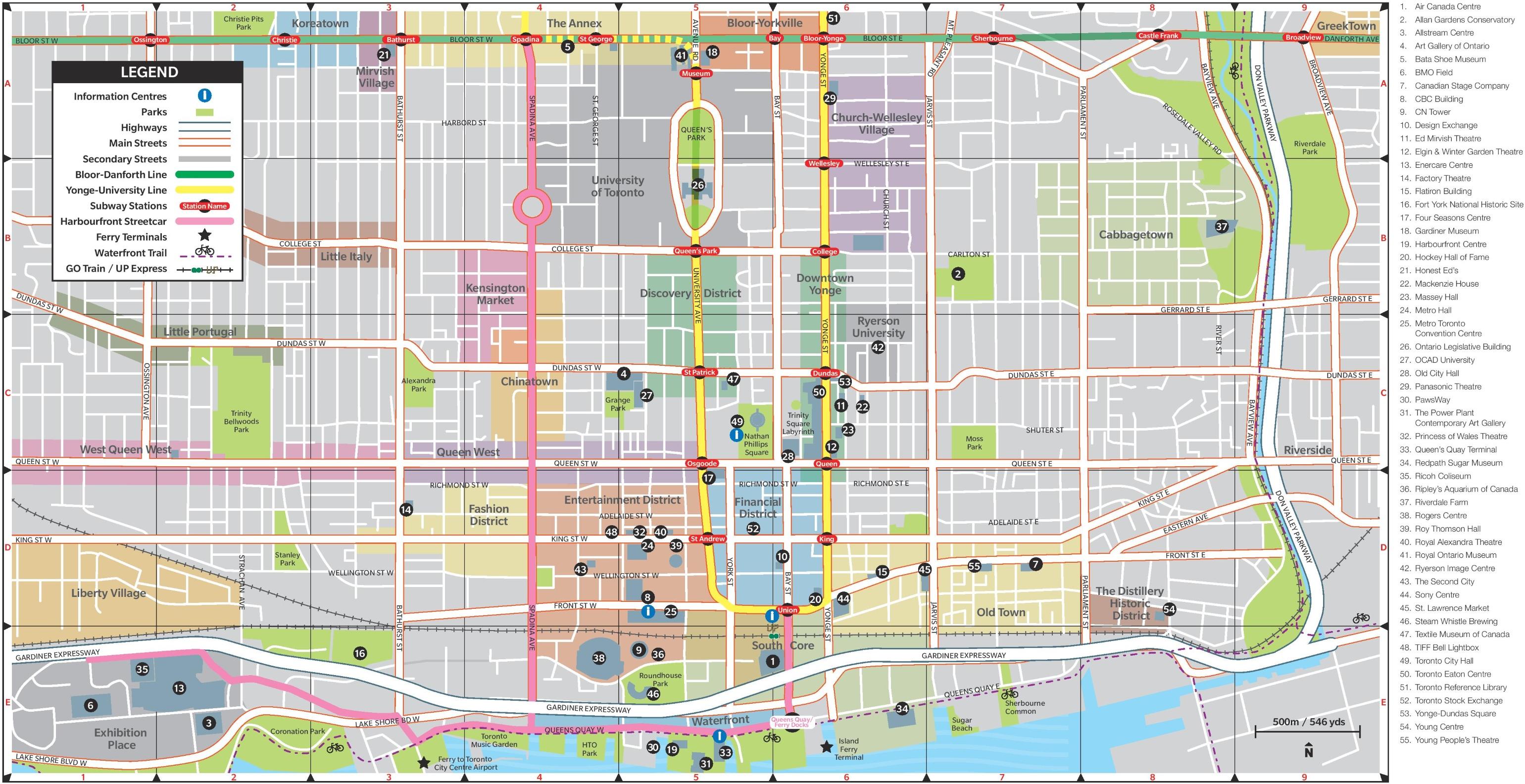 Map Of Toronto City Canada Toronto city center map