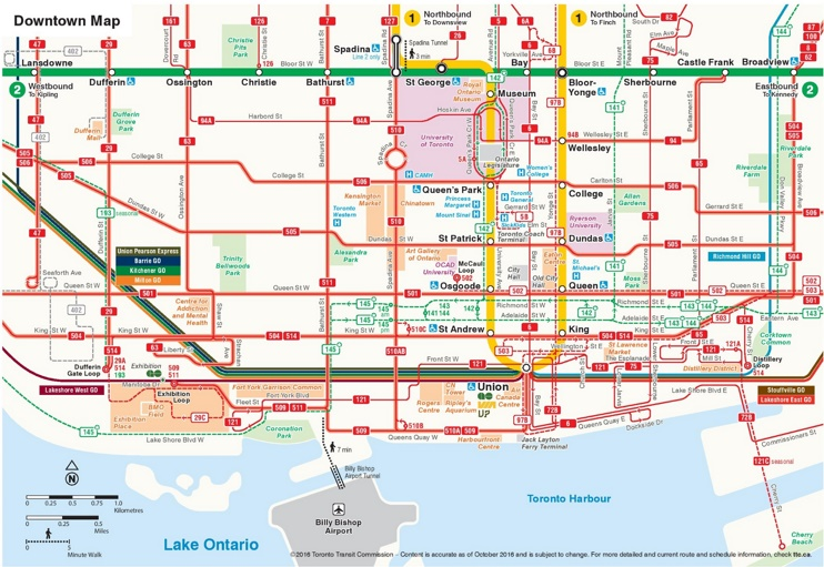 Toronto downtown transport map