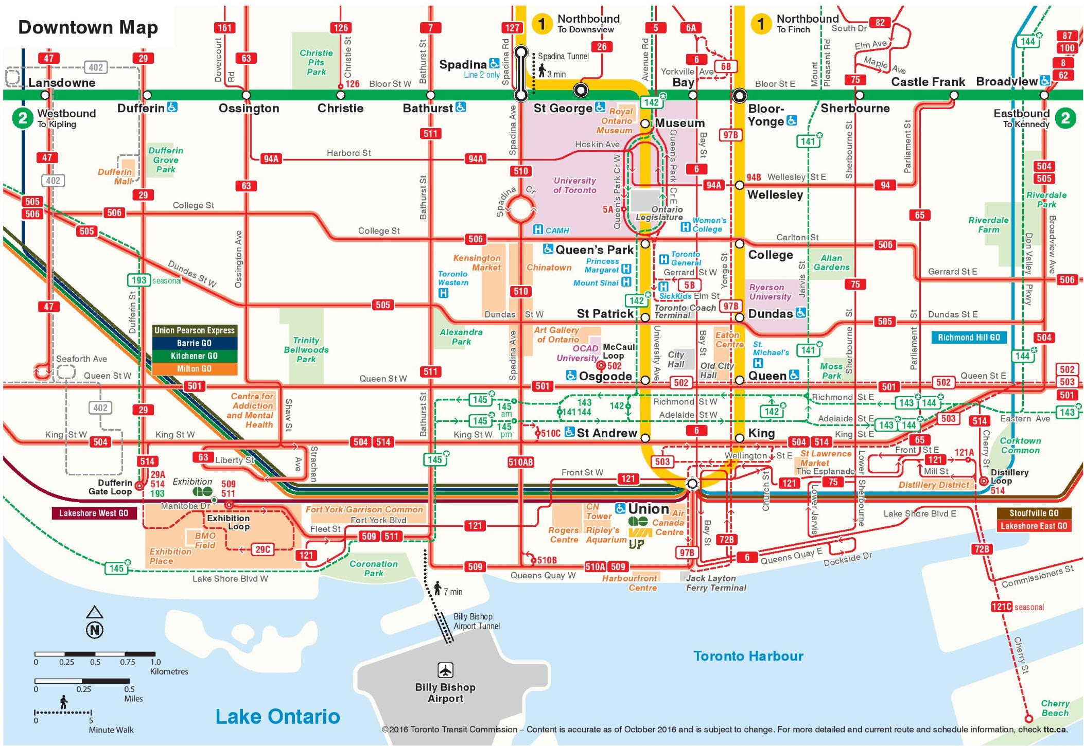Map Downtown Toronto Canada Toronto downtown transport map