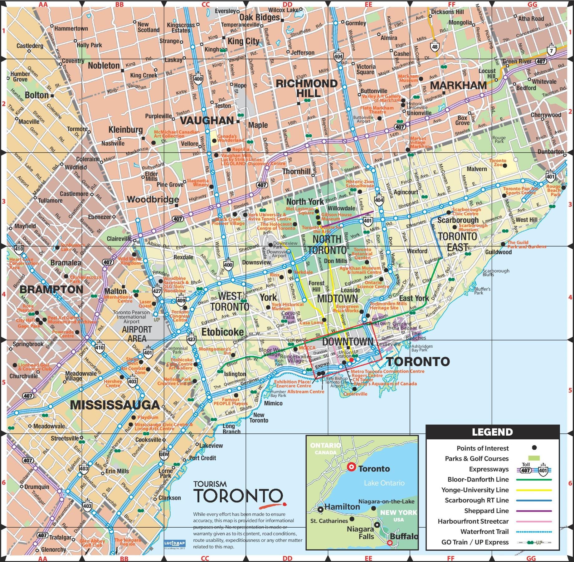 Map Of Toronto City Canada Toronto road map