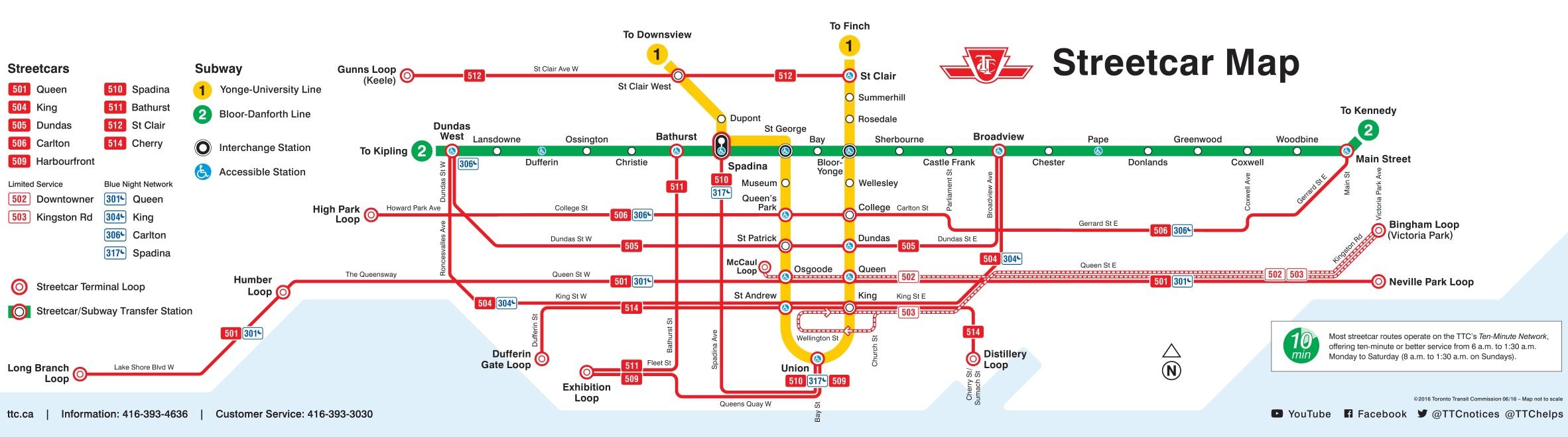 Toronto Streetcar Map Toronto streetcar map