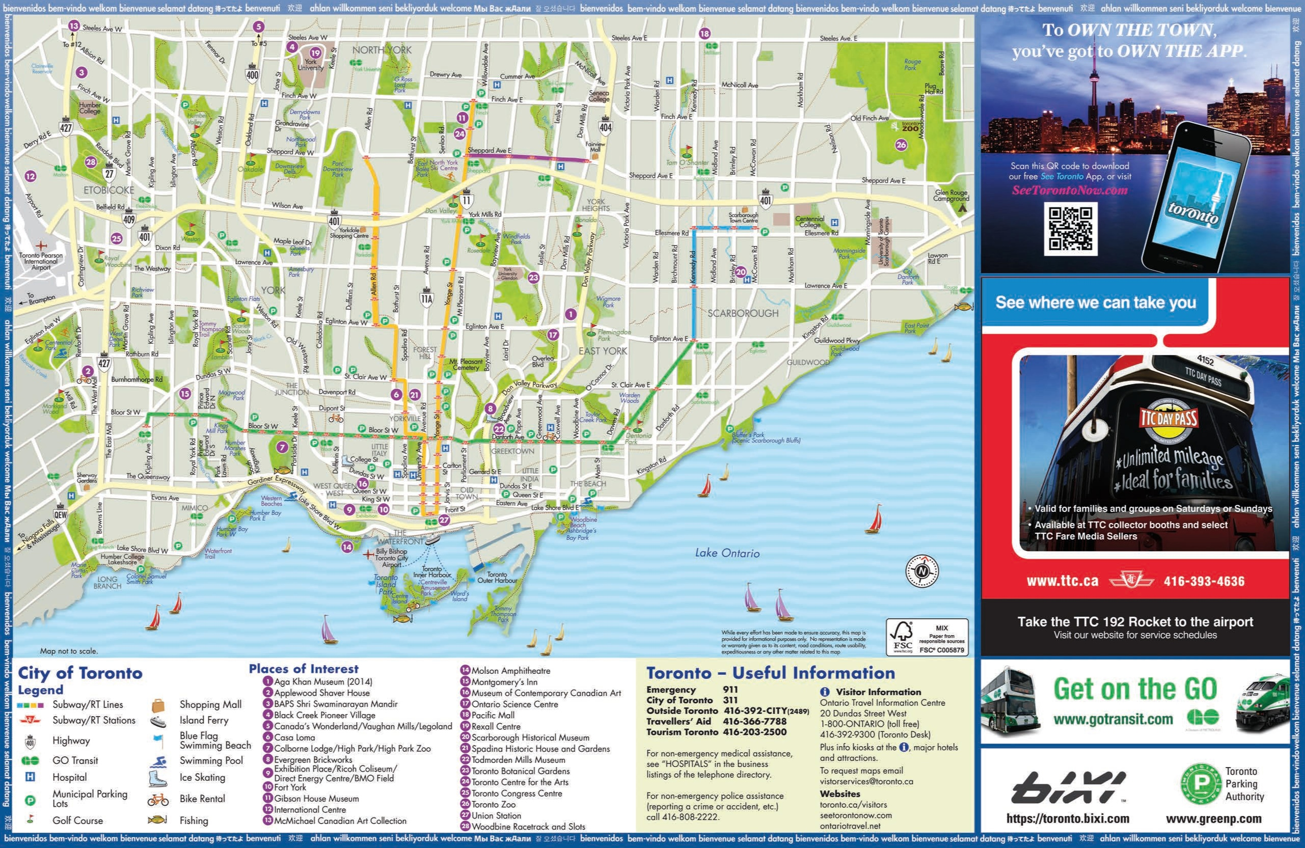 Toronto tourist attractions map