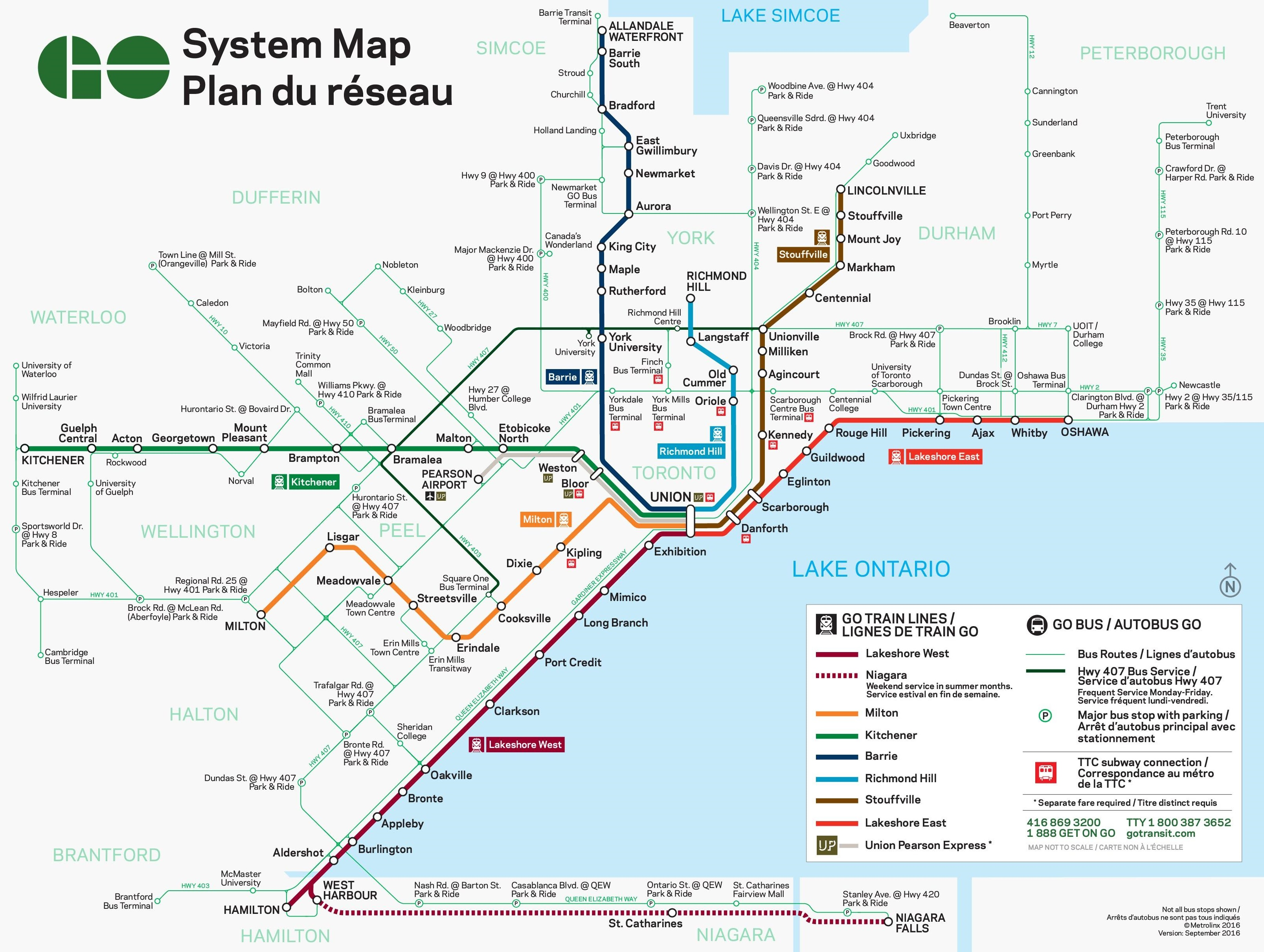 Toronto train and bus map